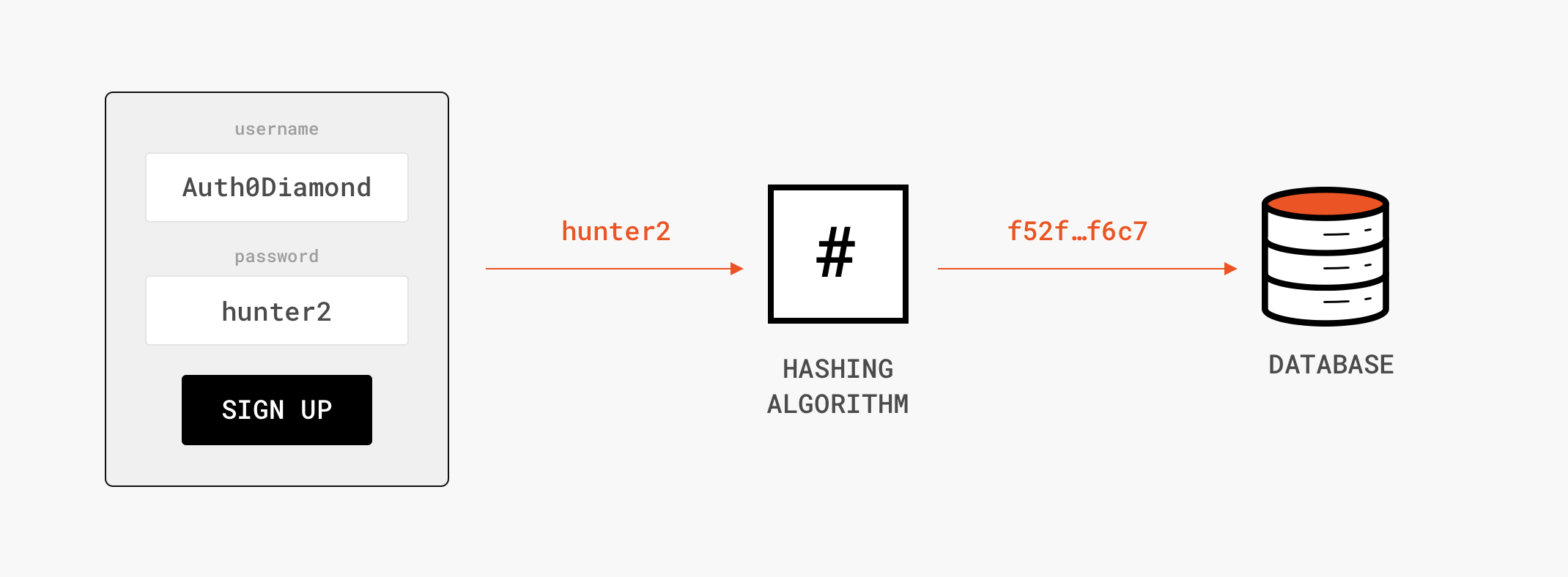 Graphic of hashing during signup registration flow