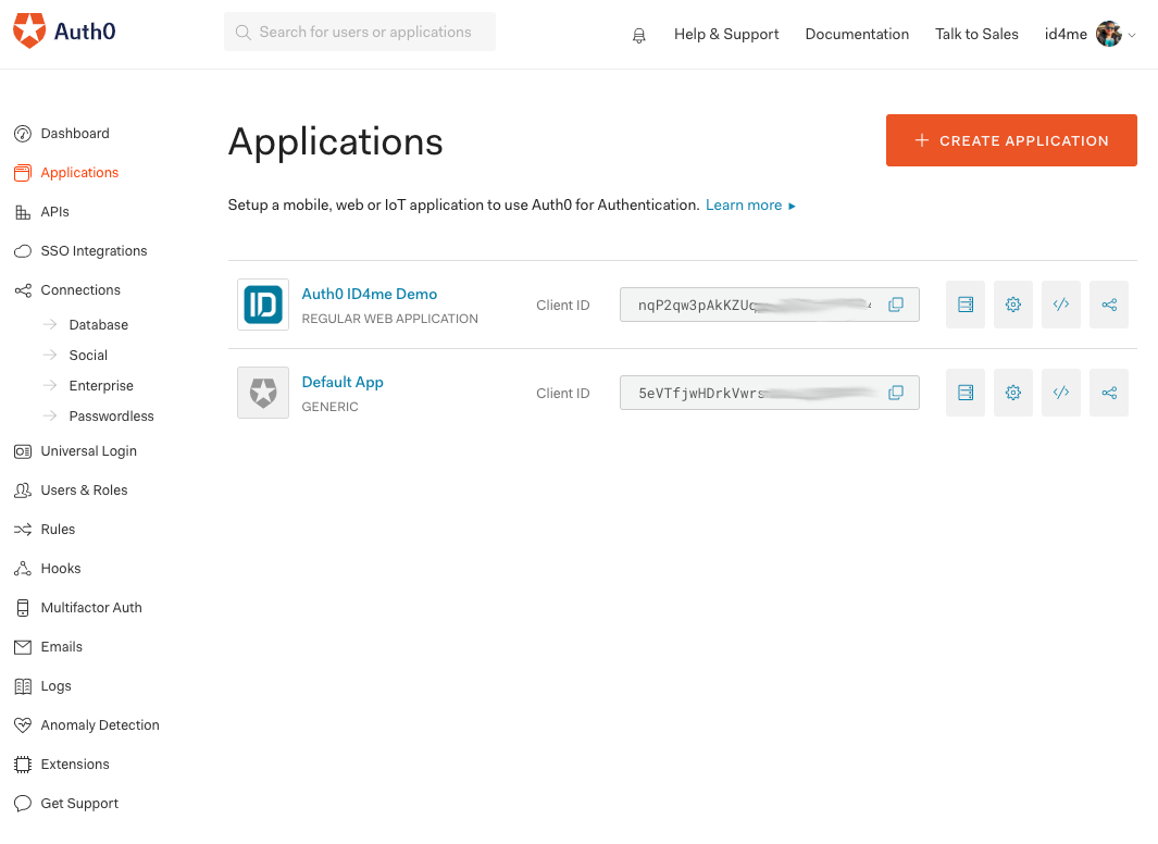 Auth0 applications overview