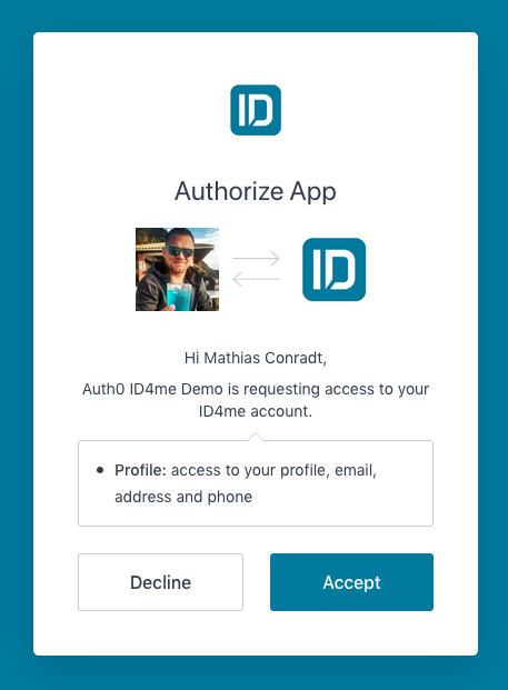 ID4me Auth0 consent