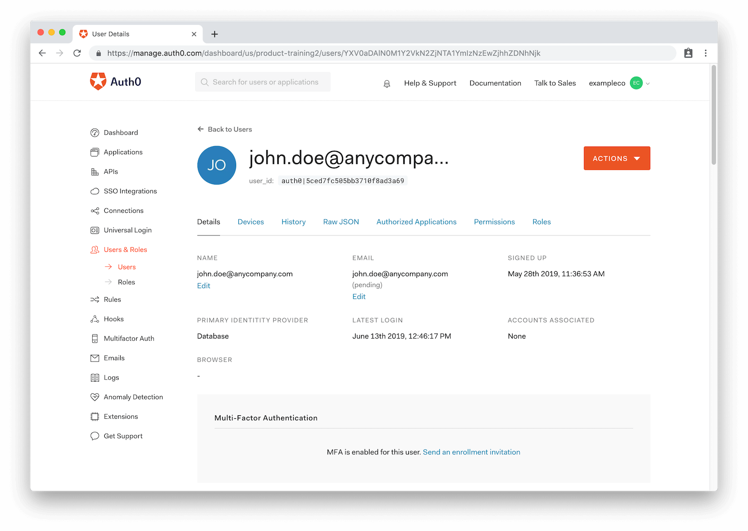 Auth0 single user profile dashboard