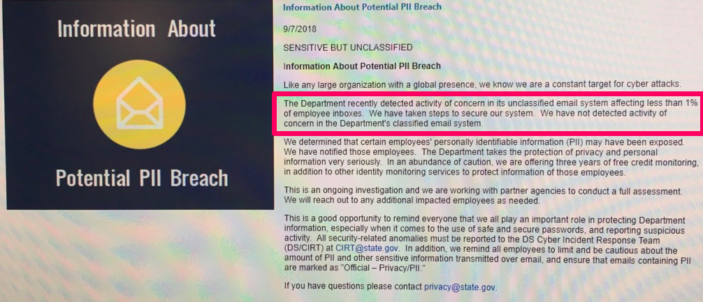 U.S. State Department Information About Potential PII Breach