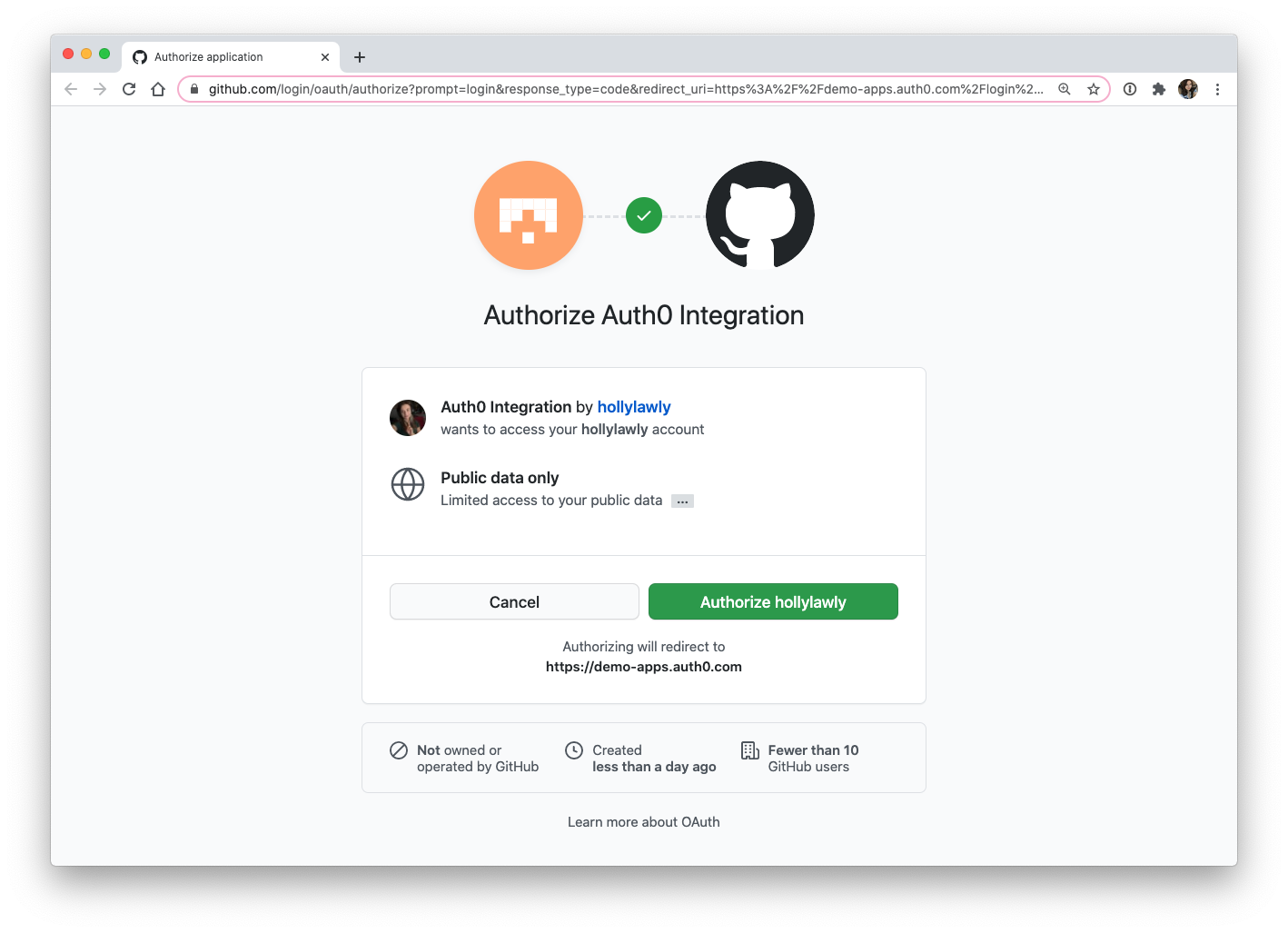 Auth0 GitHub social connection authorization