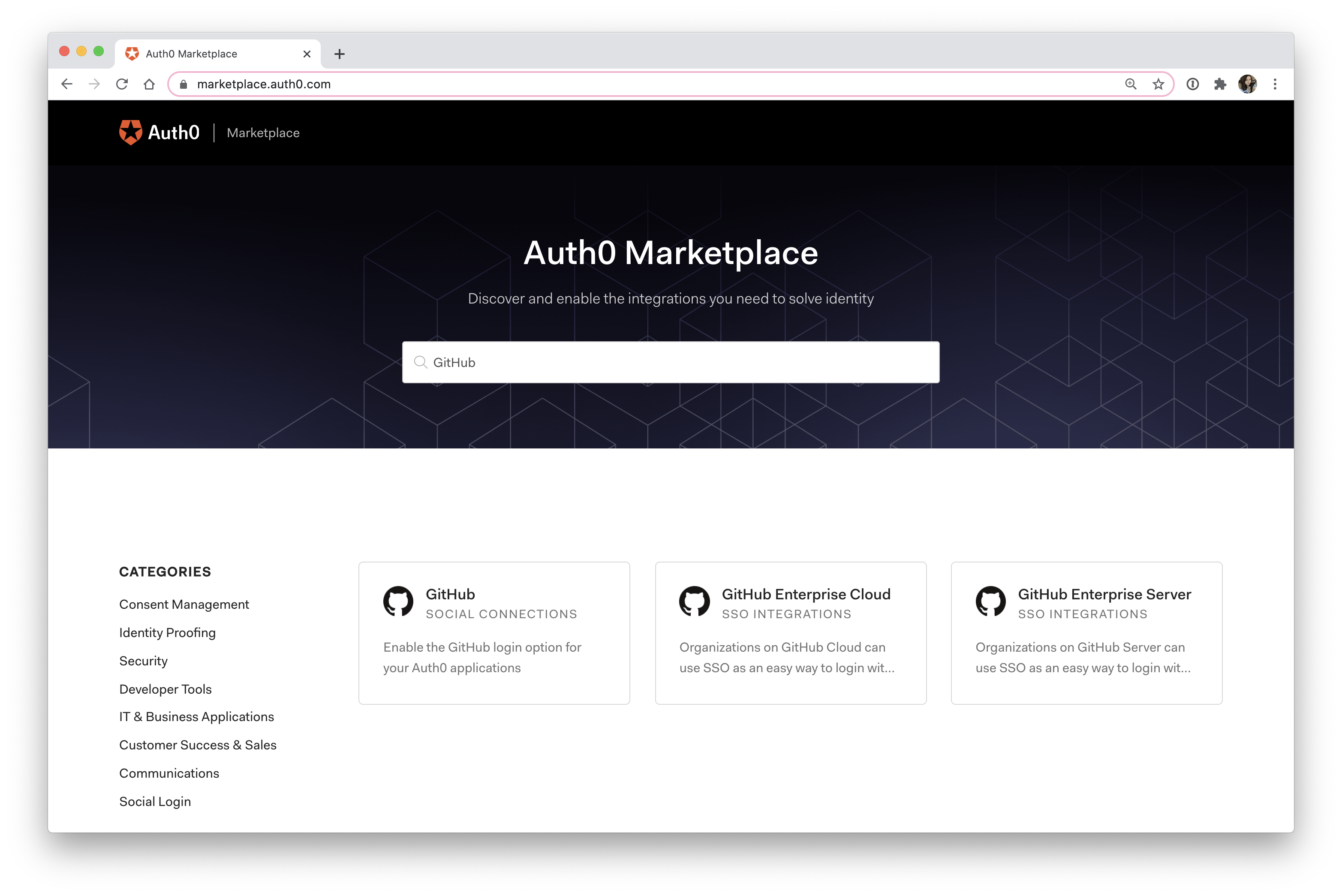 Auth0 Marketplace GitHub integrations