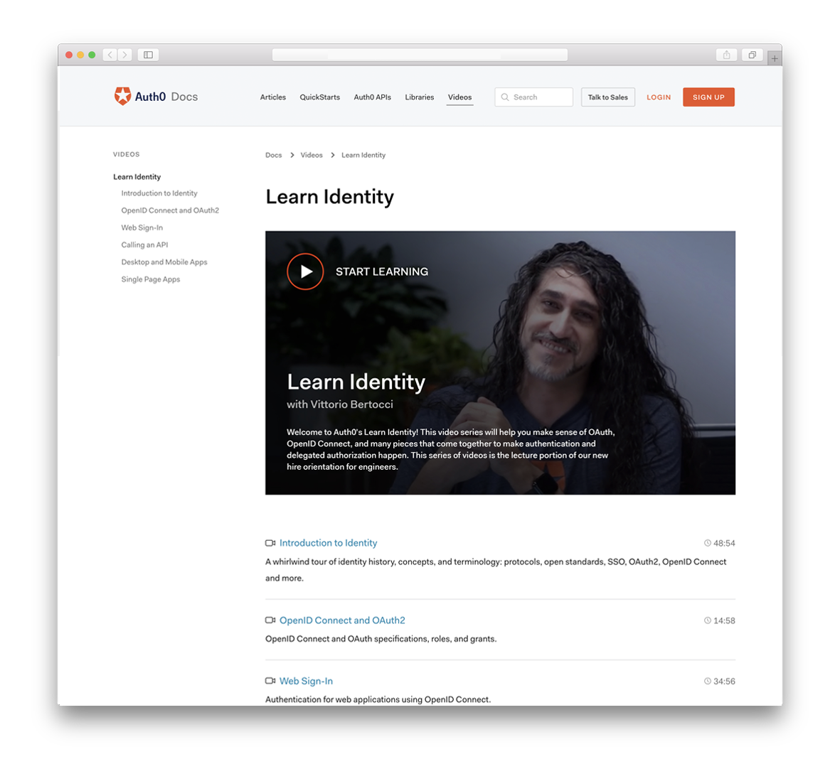 An image of Auth0 Docs Learn Identity homepage