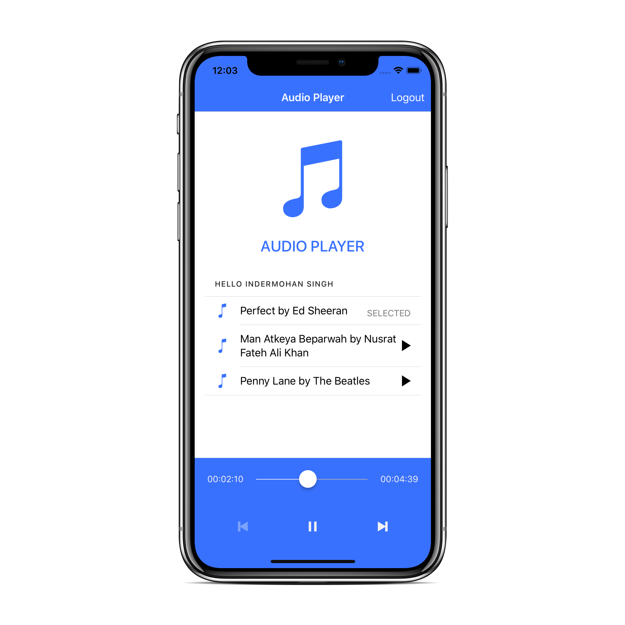Ionic audio player demo app UI