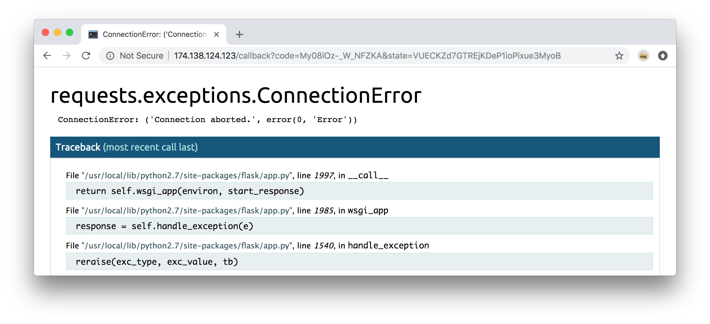 Connection error caused by lack of Istio Egress definition.