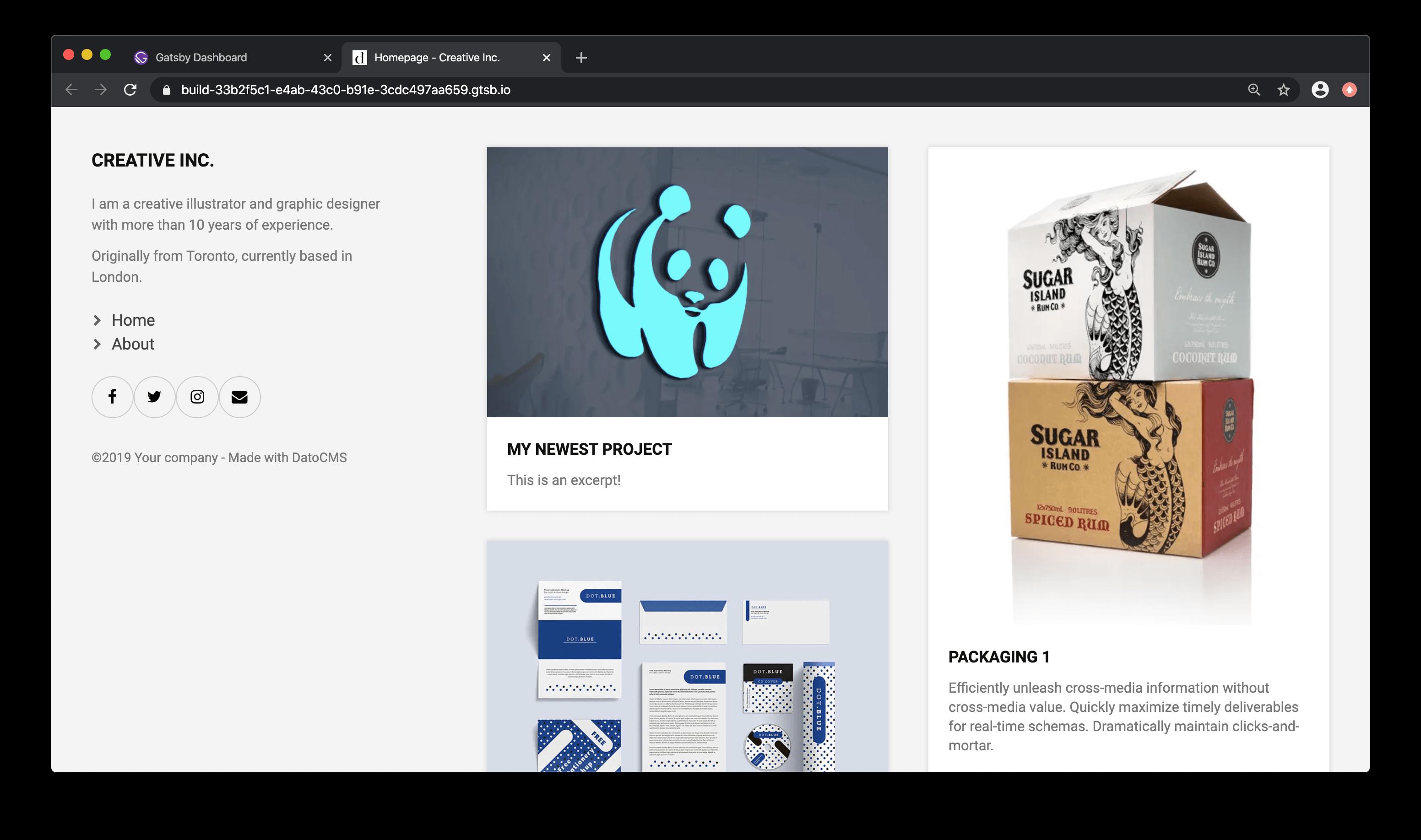 Website homepage view