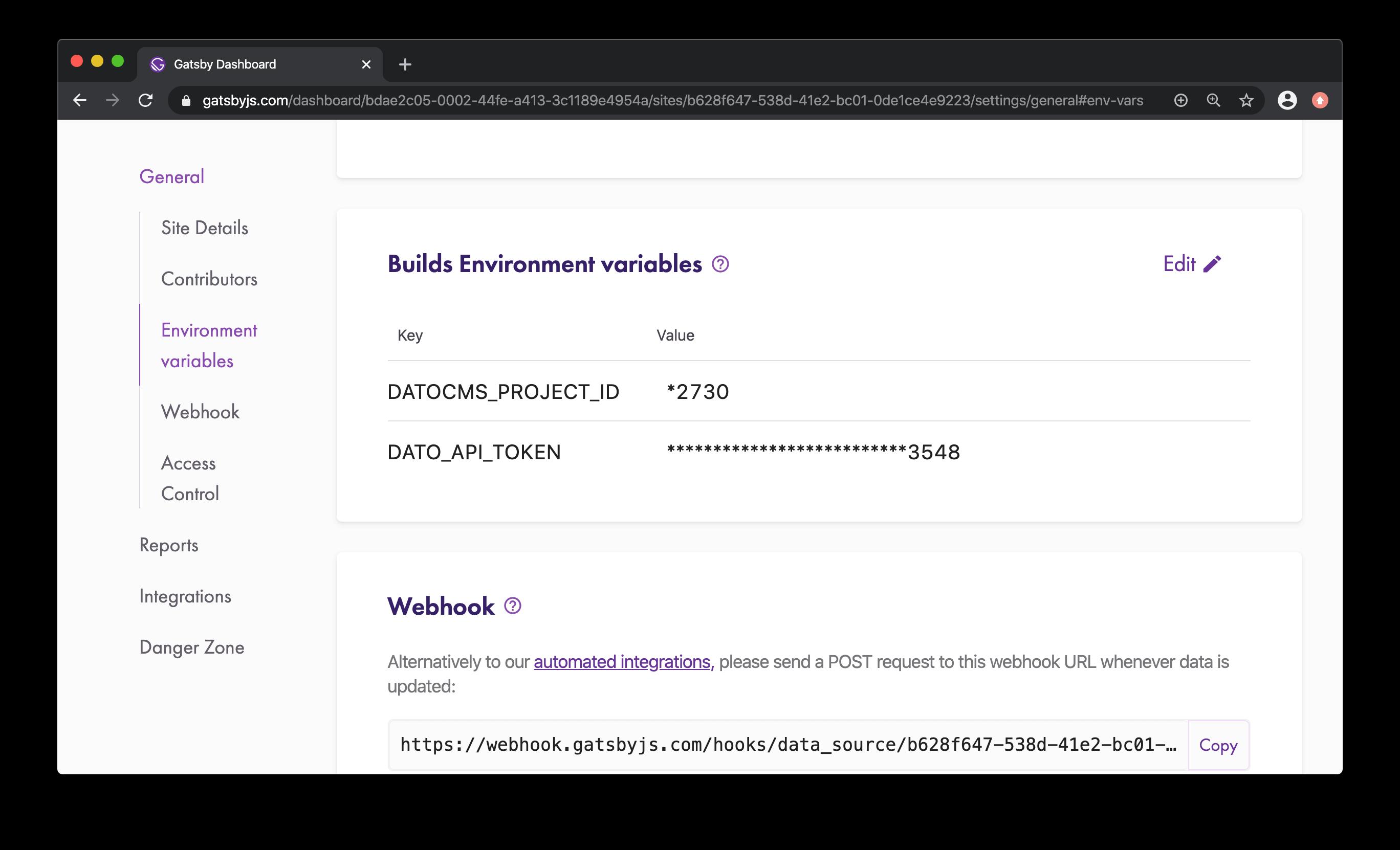 Dato API Token view in Gatsby