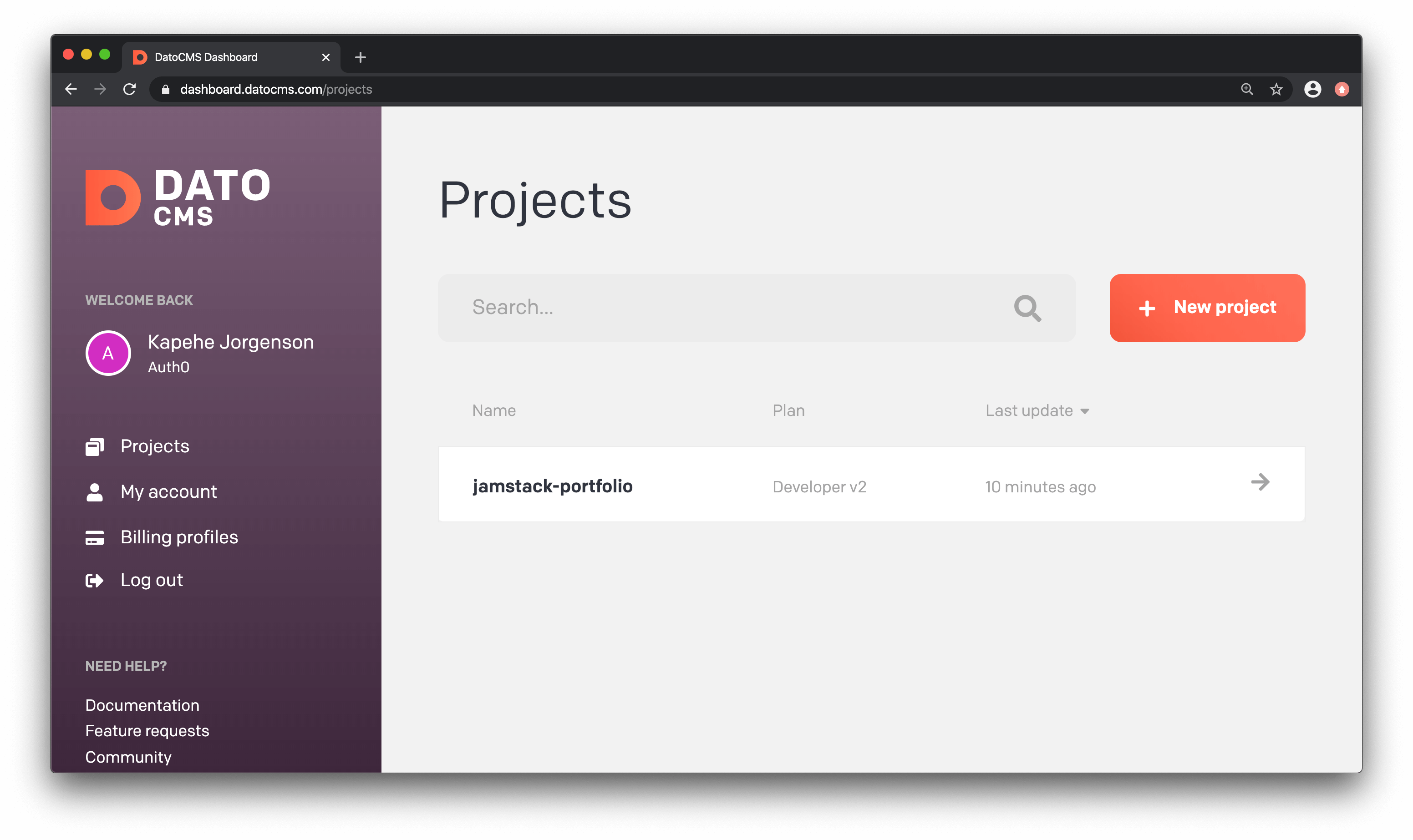 DatoCMS Dashboard view