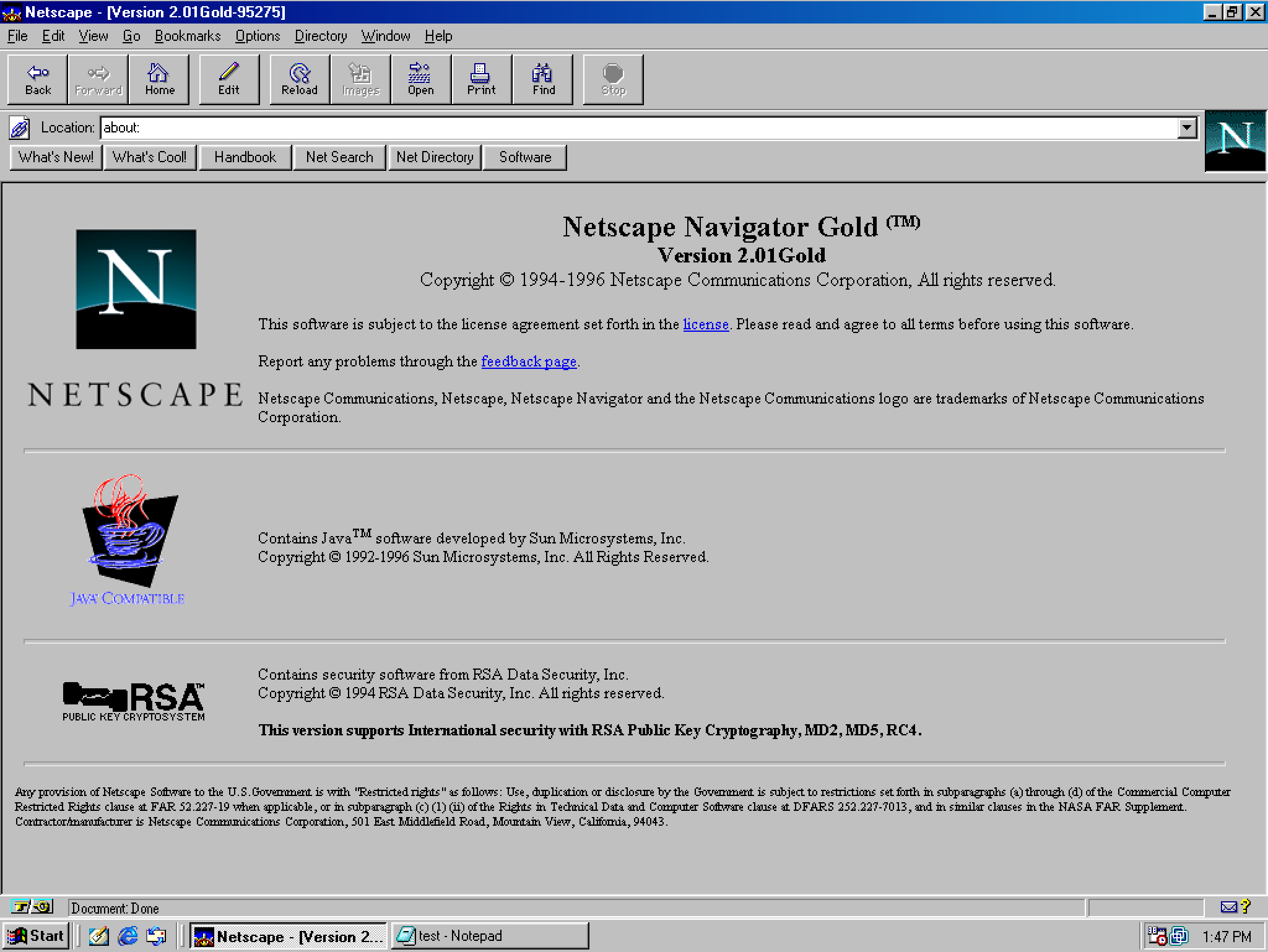 Netscape Navigator 2.01 Gold