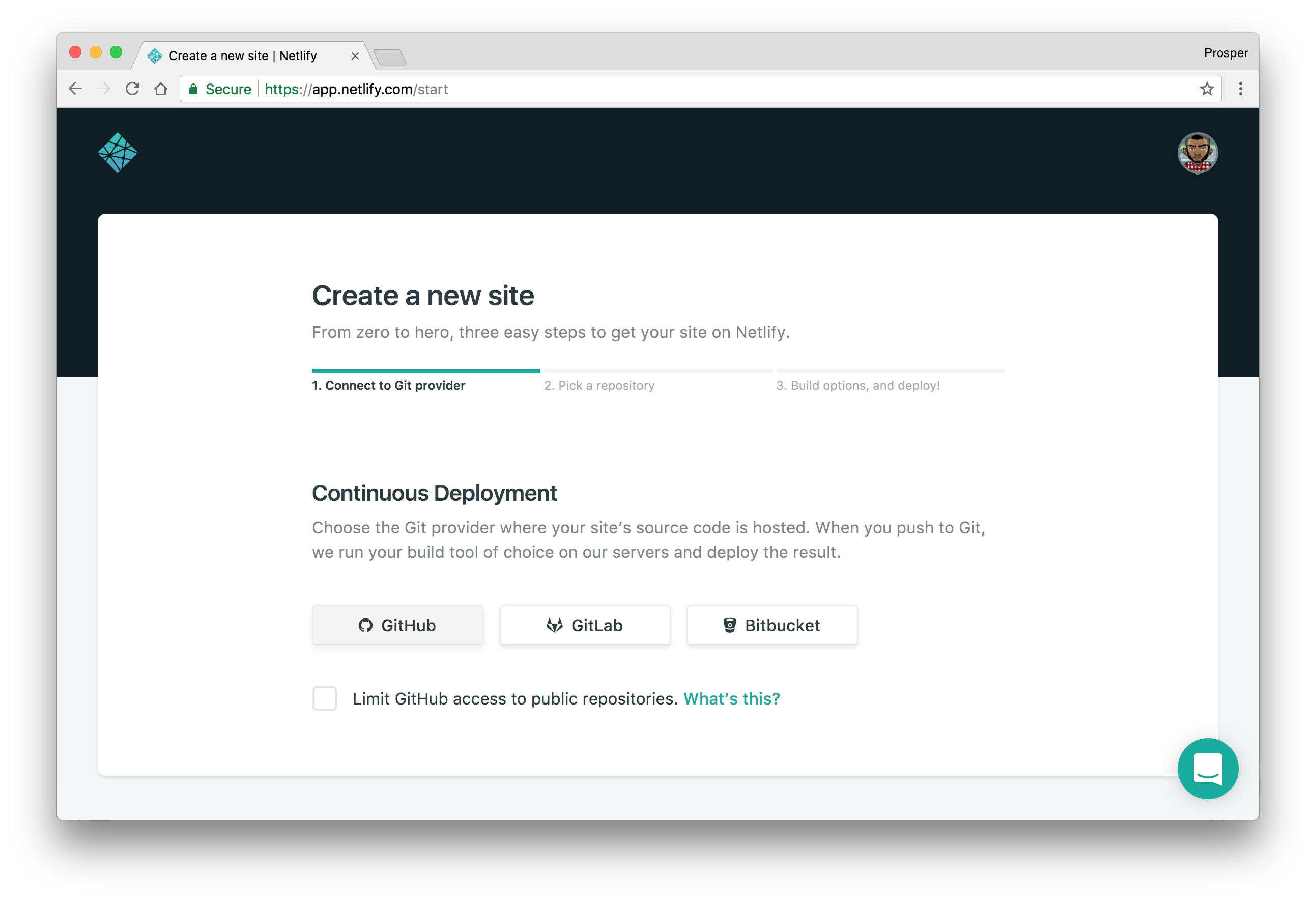 Connect GitHub screen