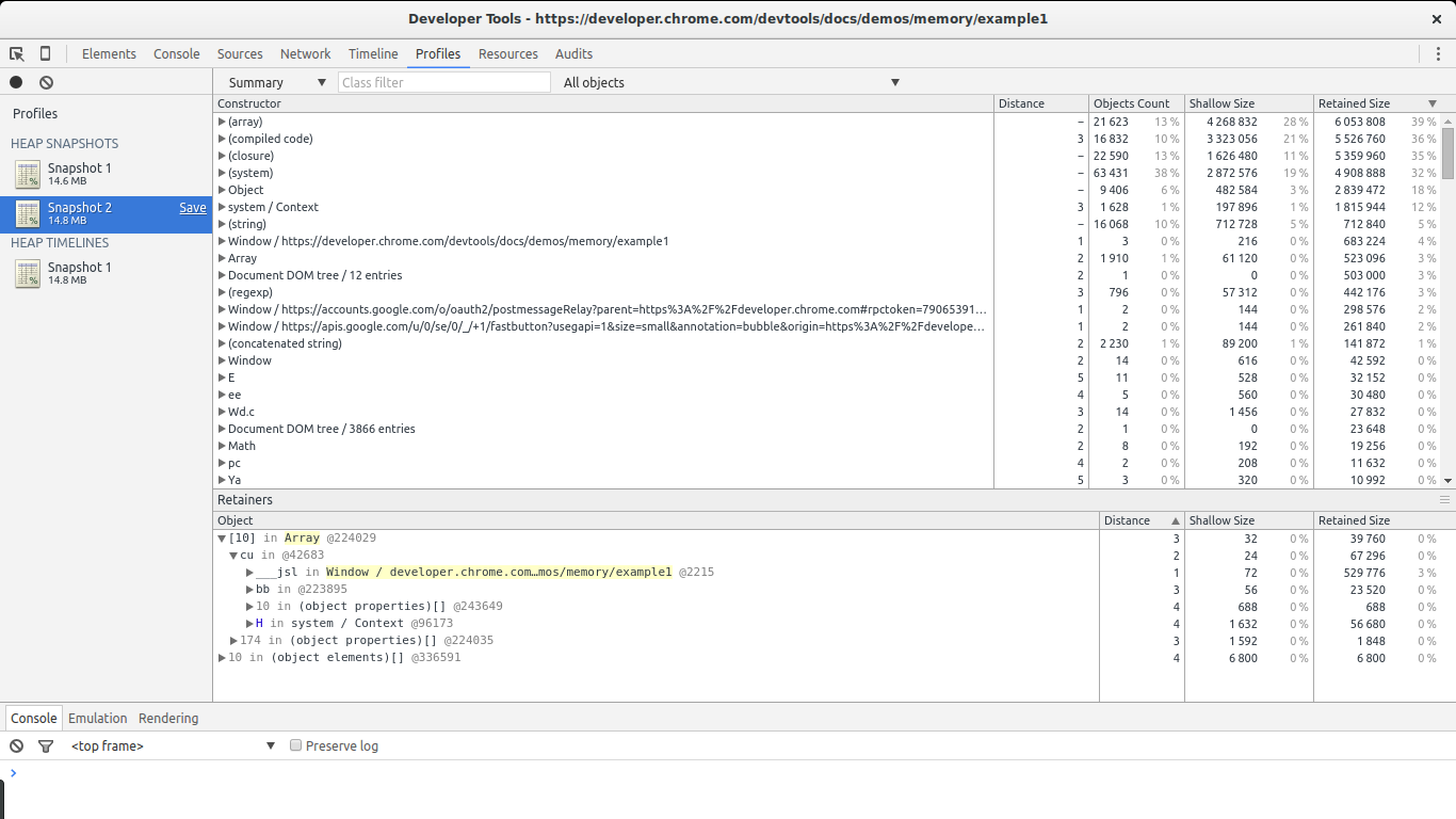 Google Dev Tools Profiles in Action