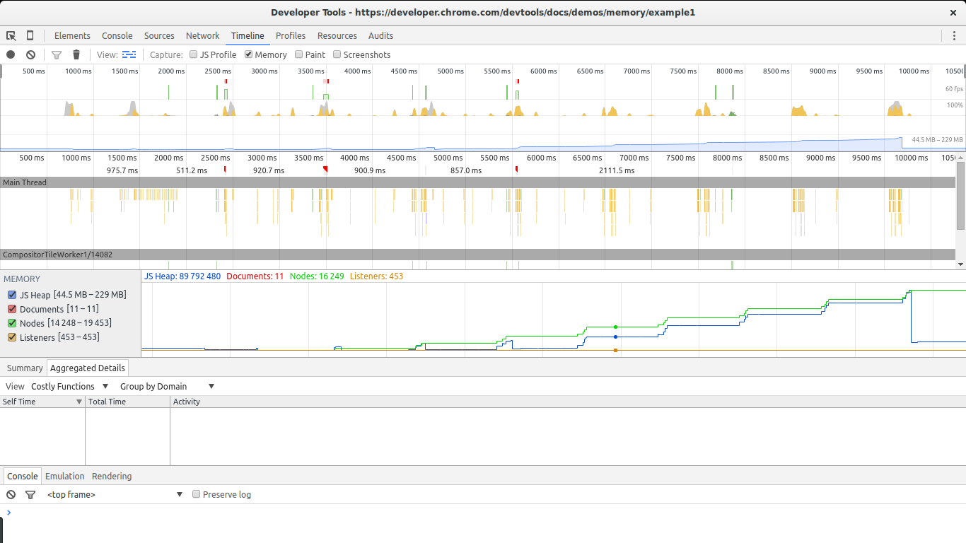 Google Dev Tools Timeline in Action