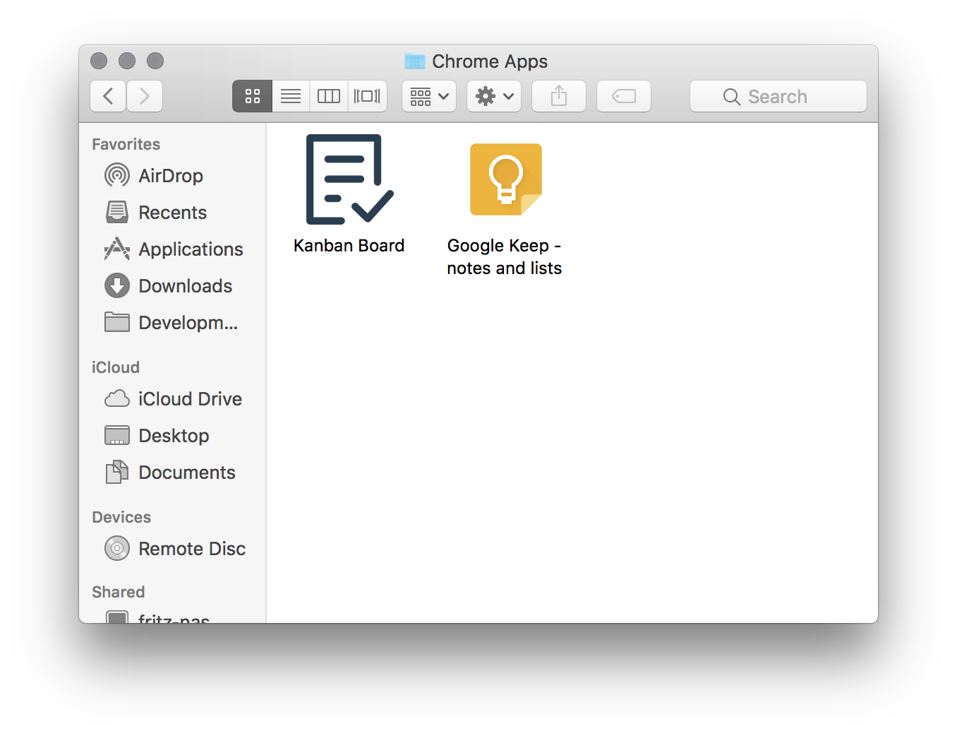 Chrome Apps folder on MacOS