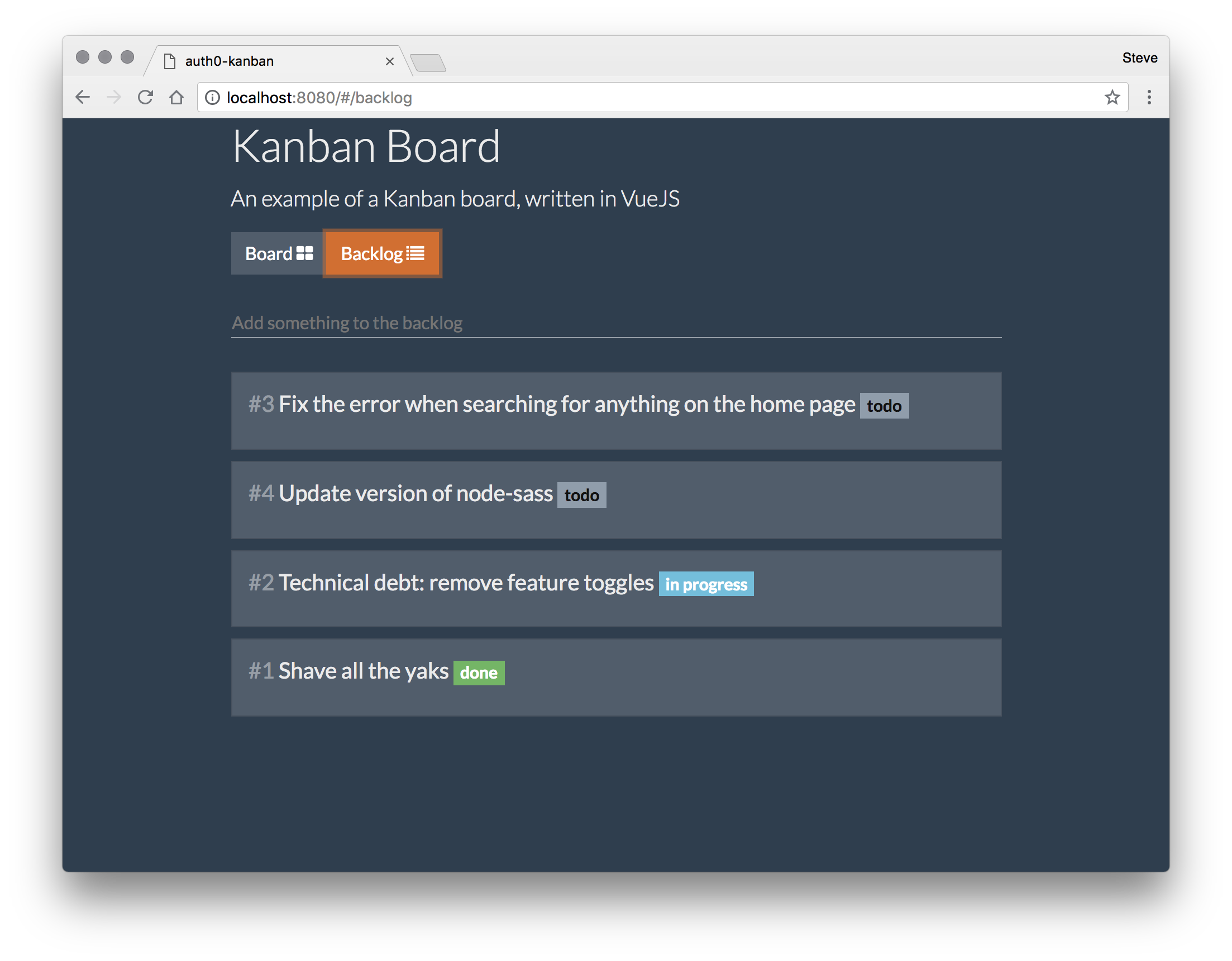 Preview of the Kanban Board application