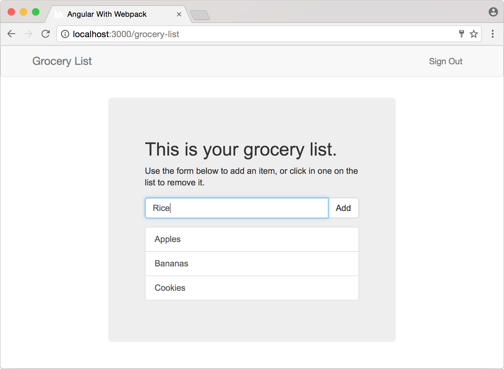 Grocery List app built with Angular 2 and Koa