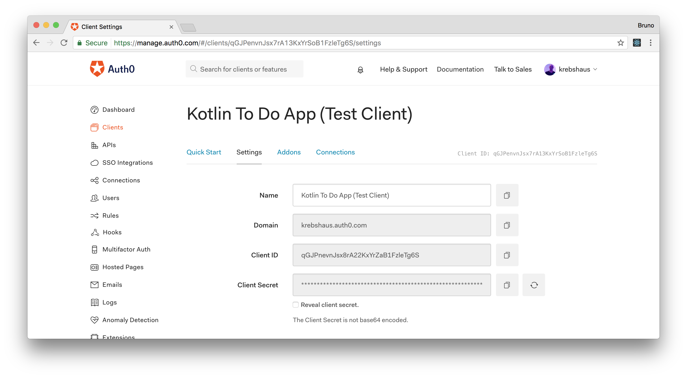 Test client created by Auth0