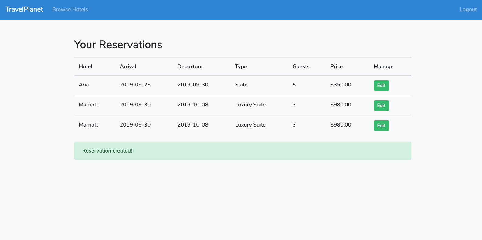 Laravel 6 success message demo app reservations screen