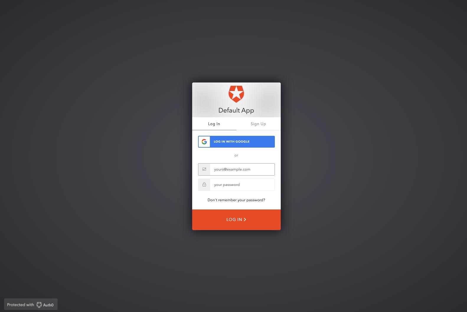Laravel 6 Auth0 default app Login modal