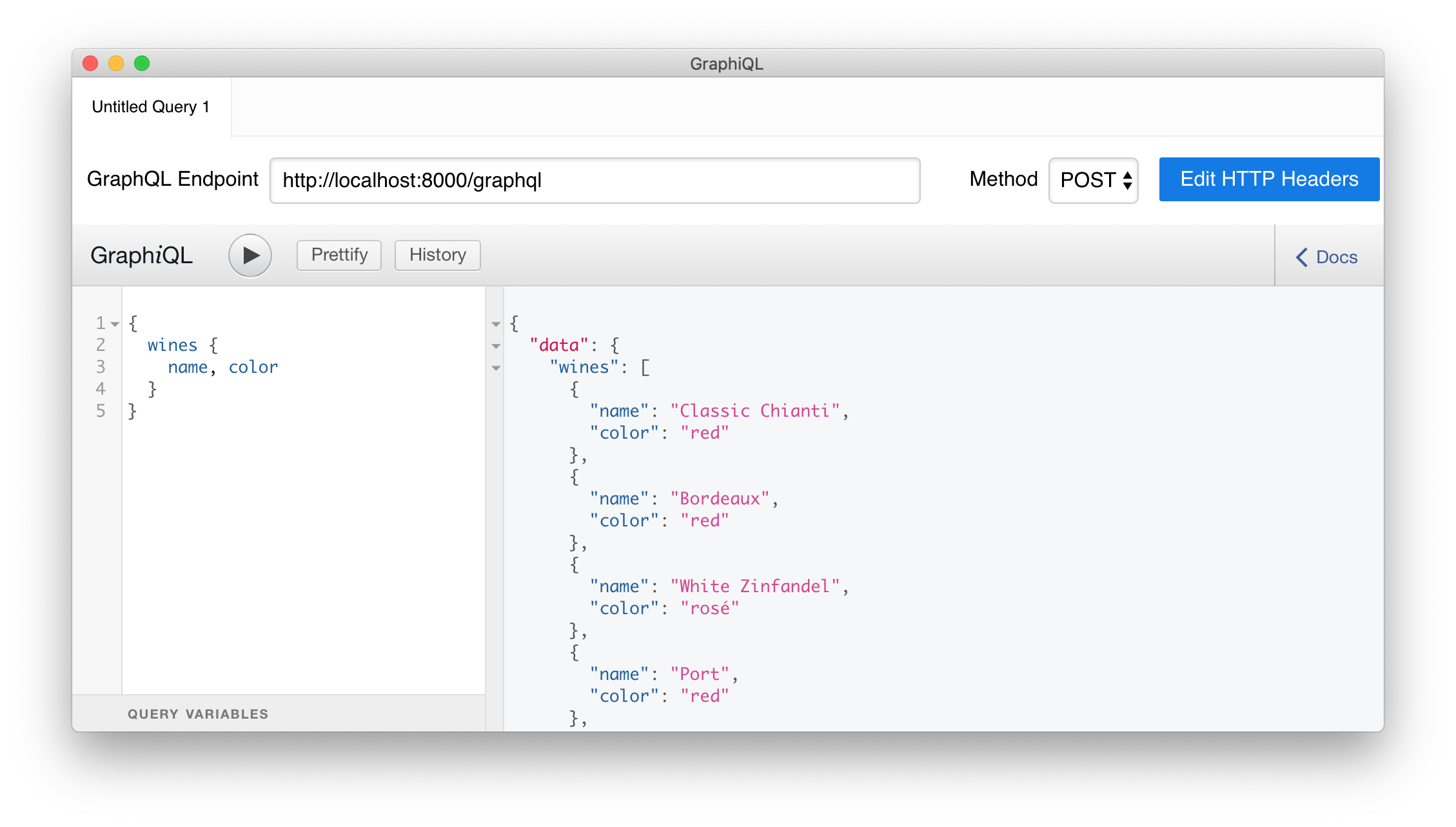 Issuing your first query to your Laravel and GraphQL API.