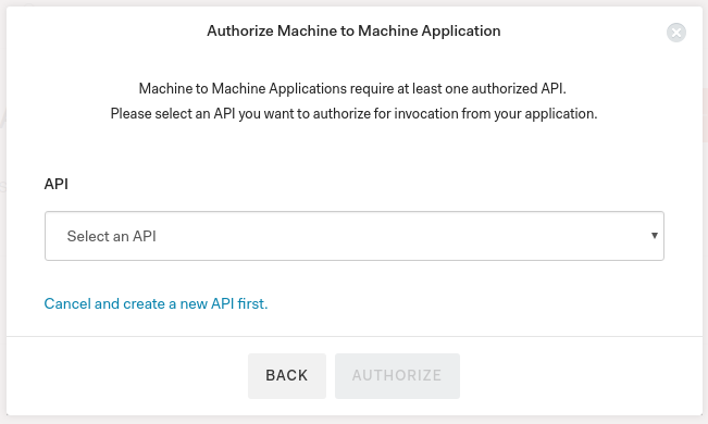 Select API in the Auth0 Dashboard