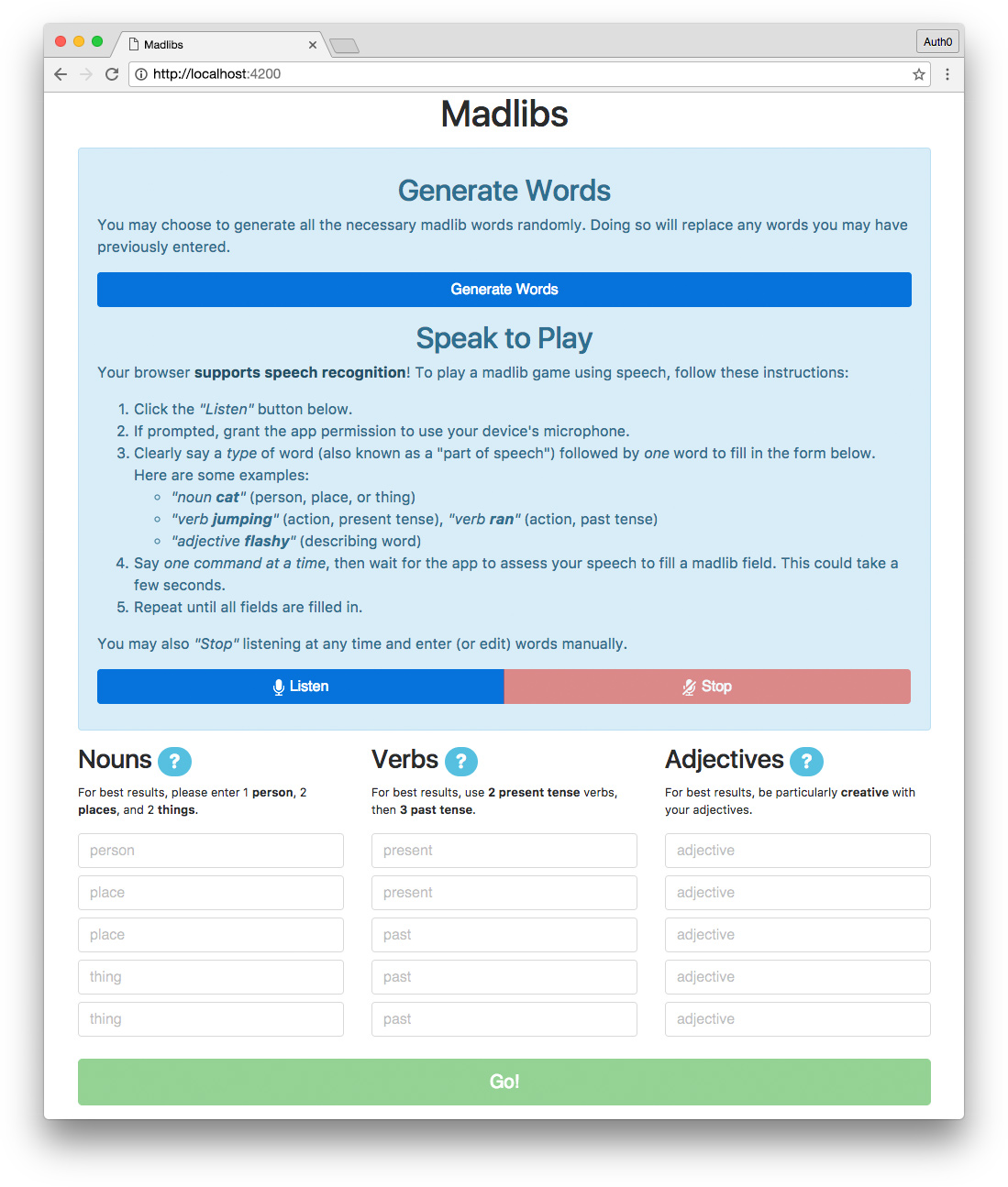 Madlibs app with Angular and speech recognition