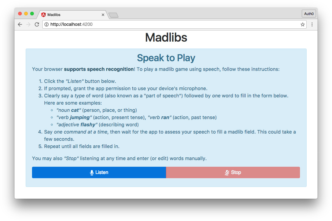 RxJS Angular app Madlibs listen component