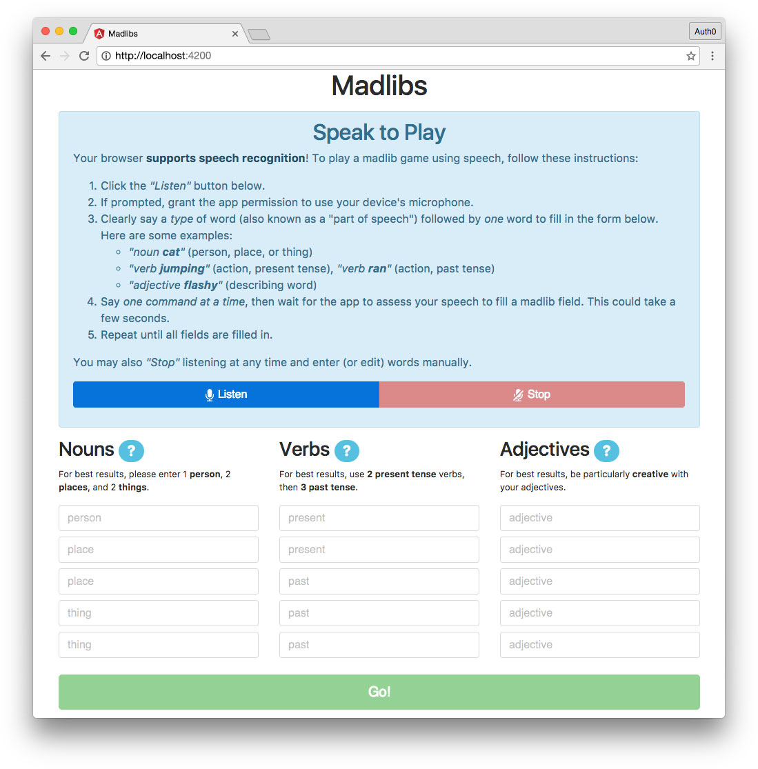 Madlibs RxJS Angular app with Listen and Words Form components
