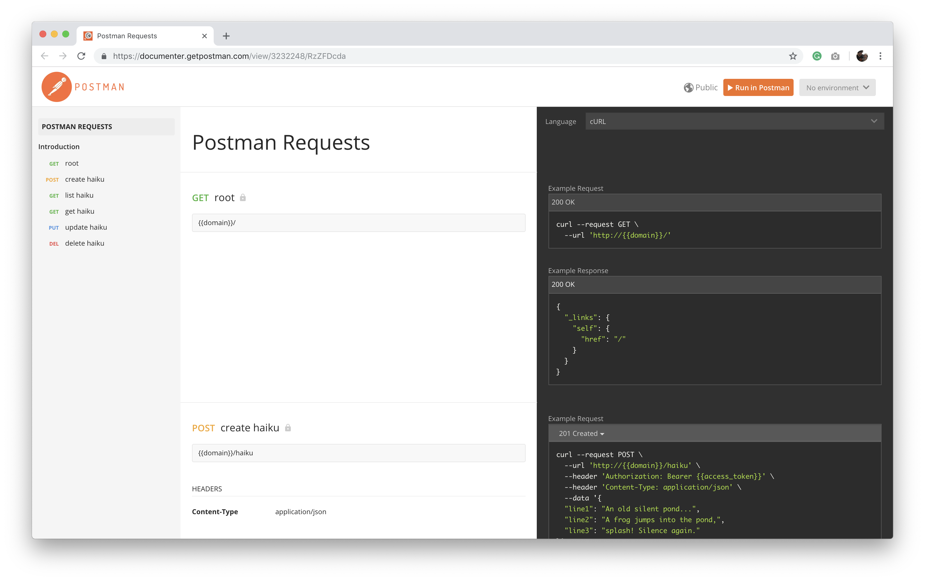 Express API docs for Postman