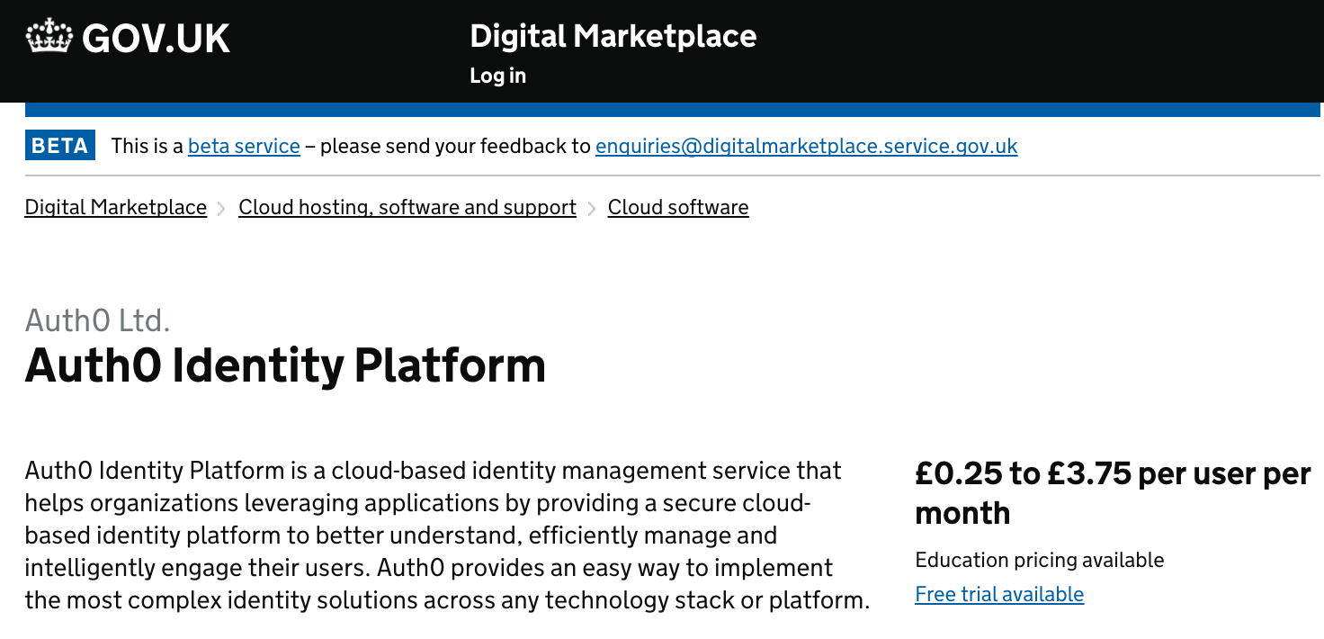 Auth0 in Digital Marketplace
