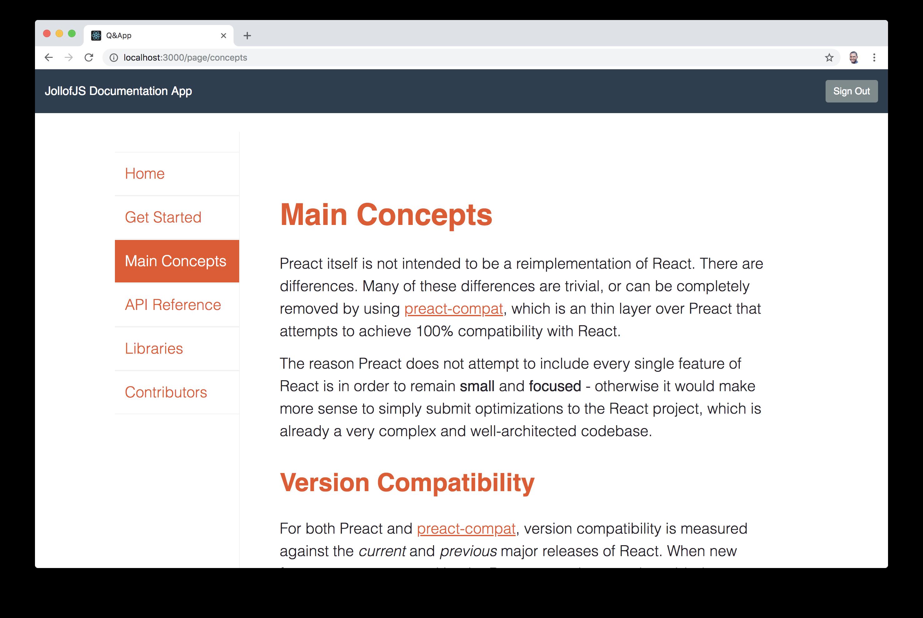 Documentation App navigation - Main concepts