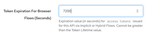 Auth0 dashboard APIs change token expiration