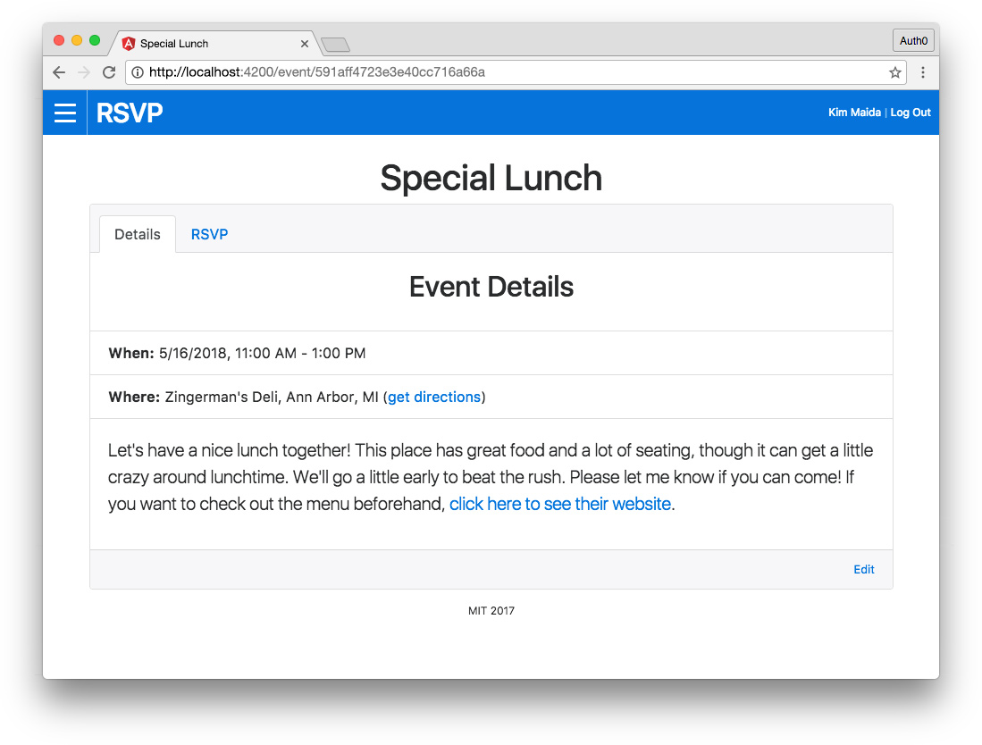 Angular MEAN app - event detail component