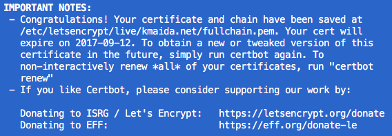 Let's Encrypt certbot successfully obtained SSL cert