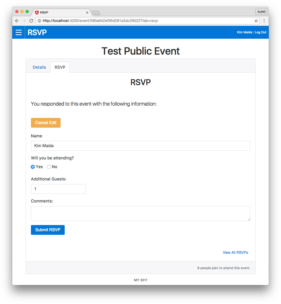 Angular RSVP app - edit RSVP template-driven form