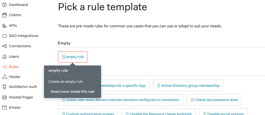 create new empty Auth0 rule