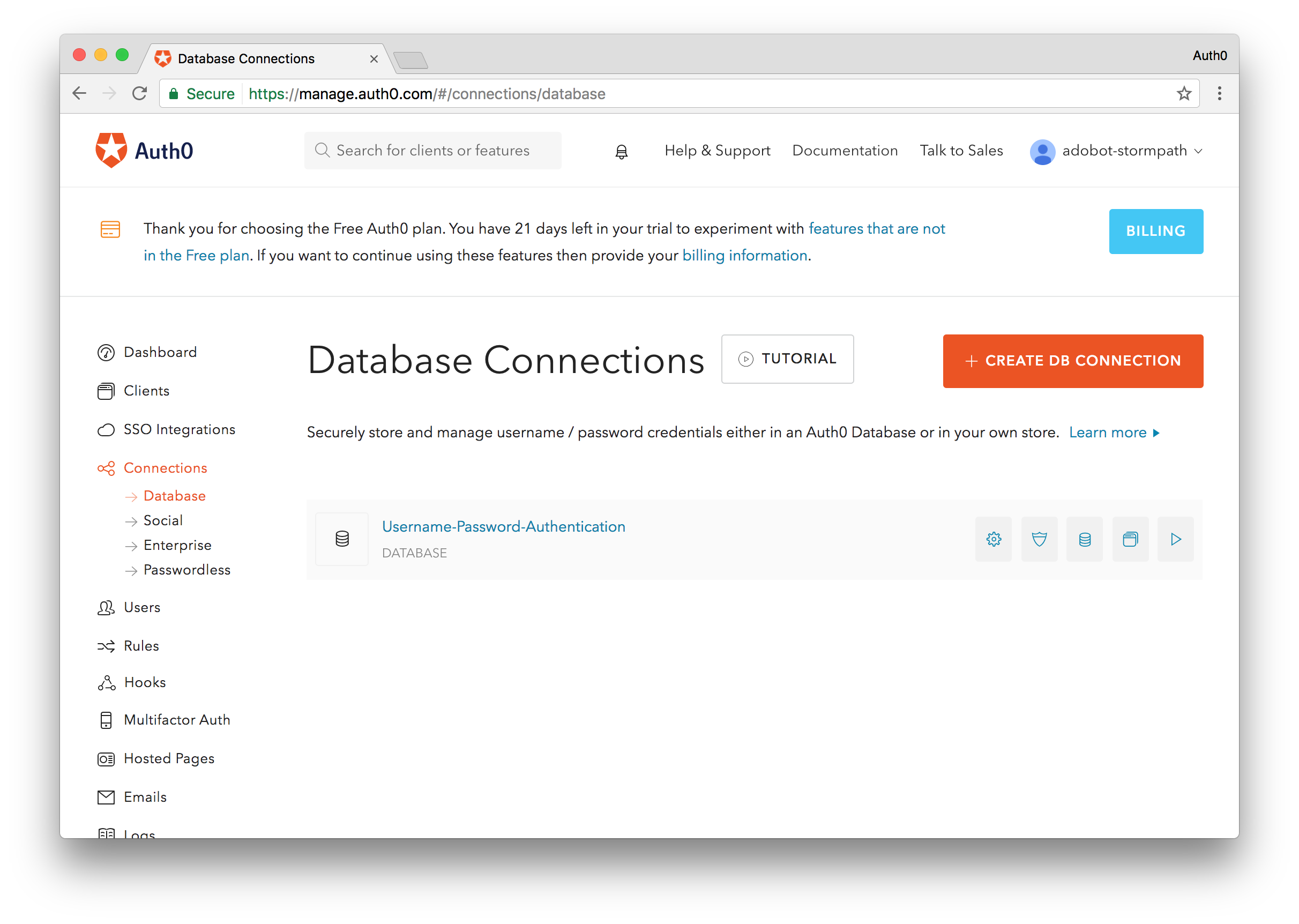 Create DB Connection