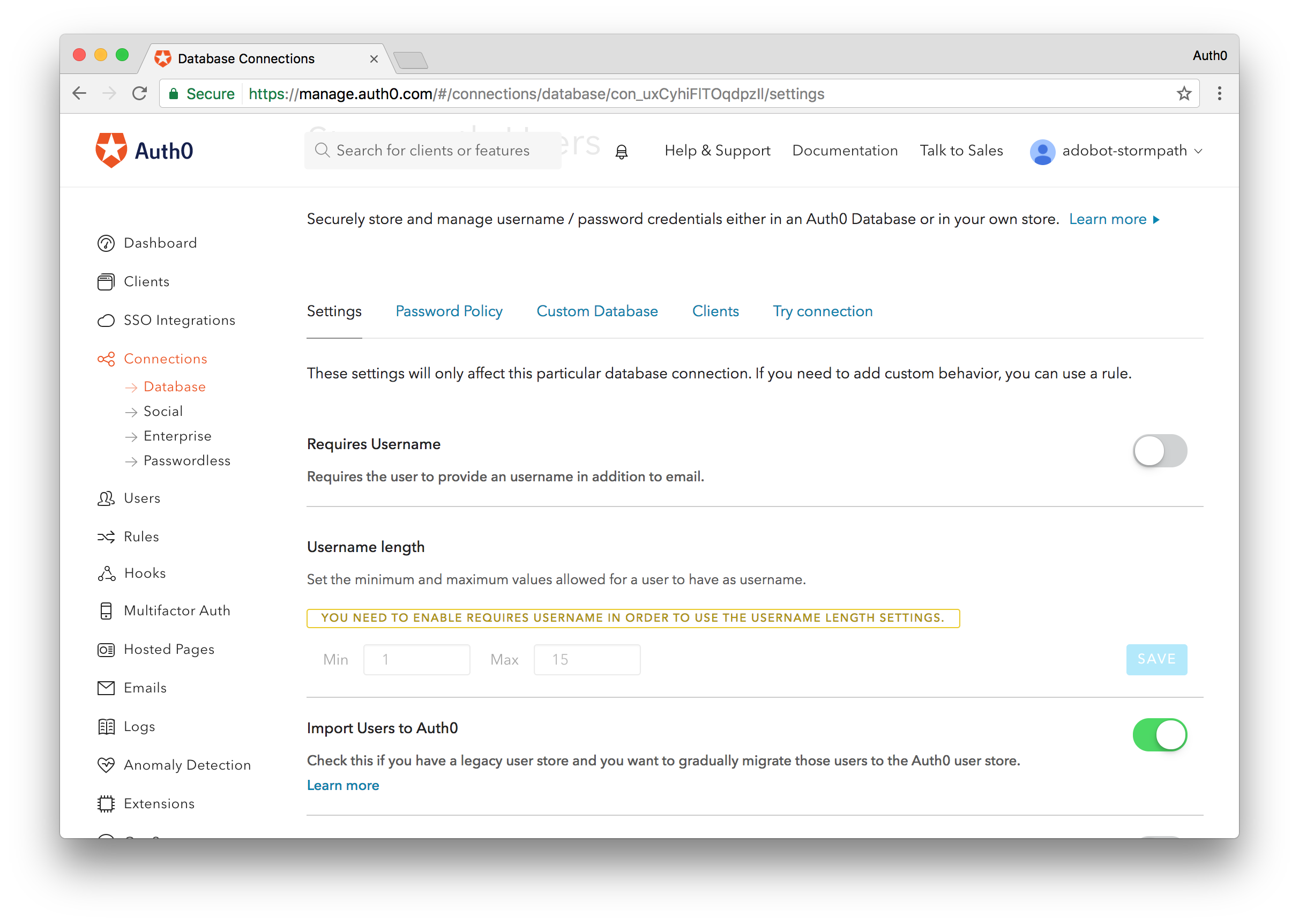 Import Users to Auth0 Switch