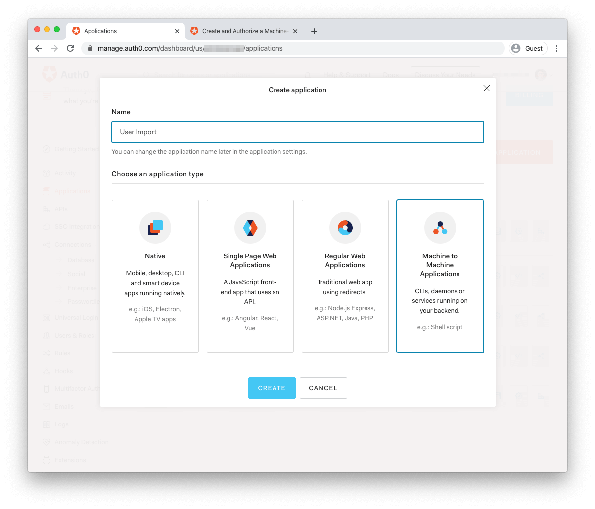 Auth0 Machine to Machine Application creation form