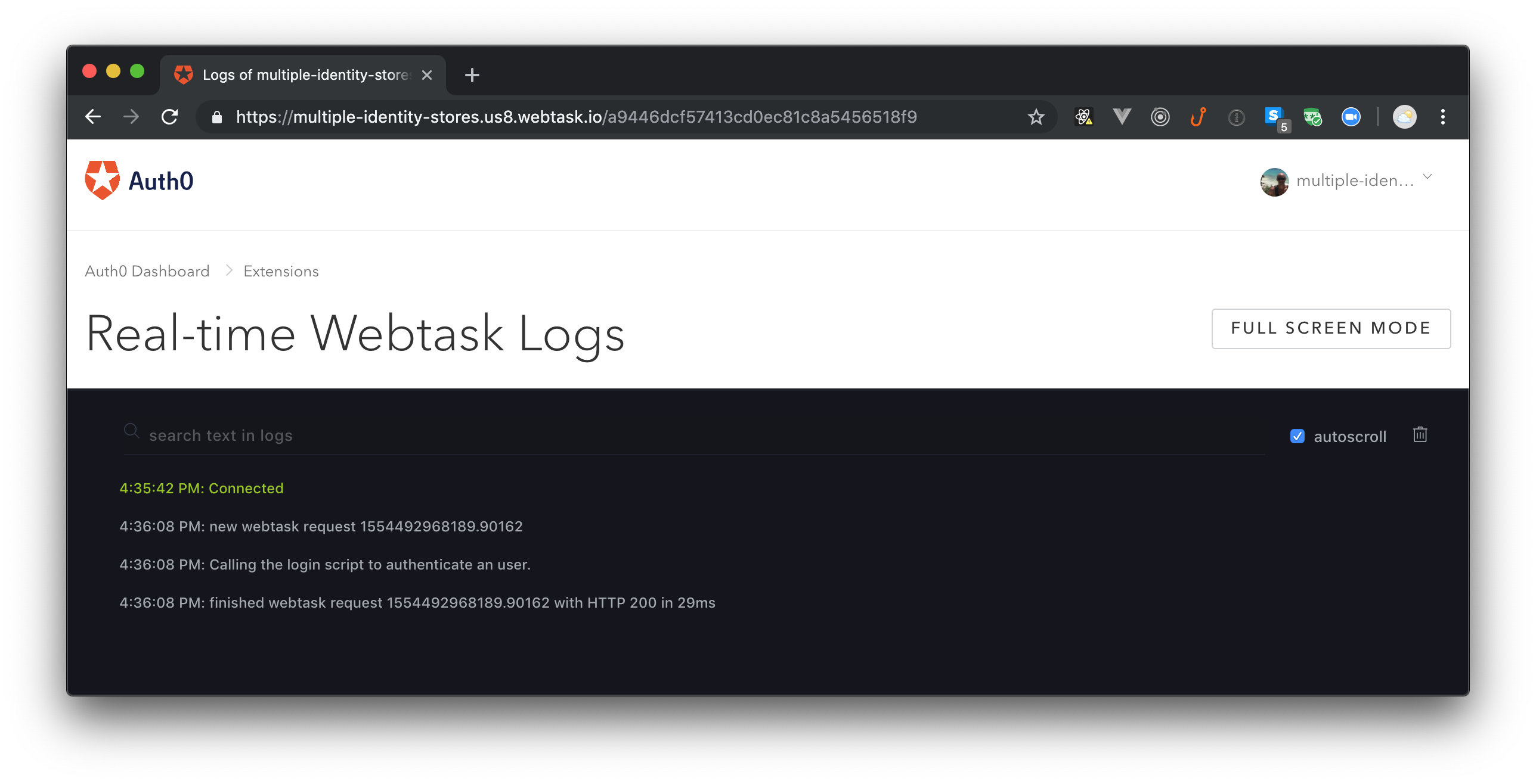 Troubleshooting custom database connections on Auth0 with Real-time Webtask Logs.
