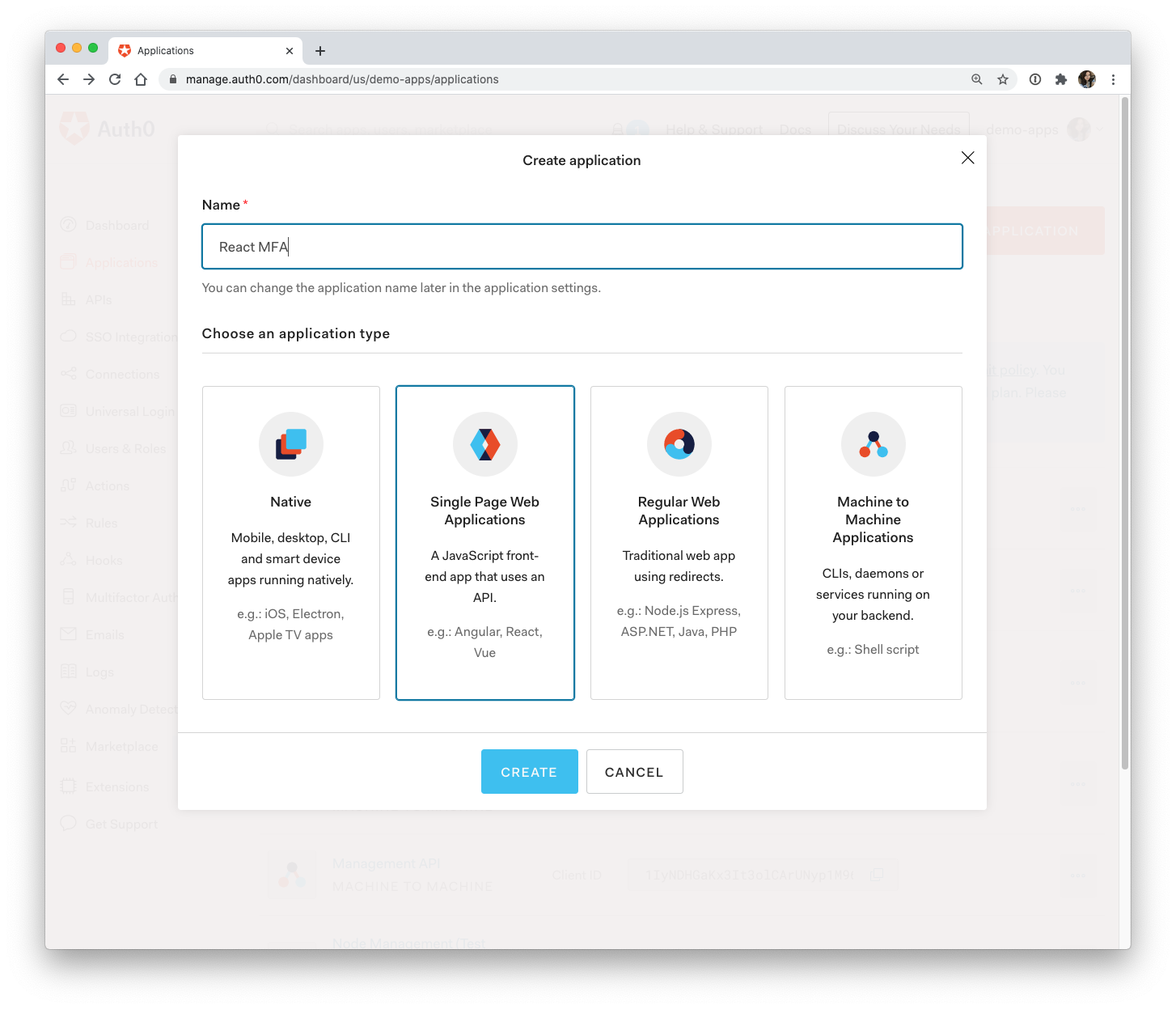 Auth0 new application