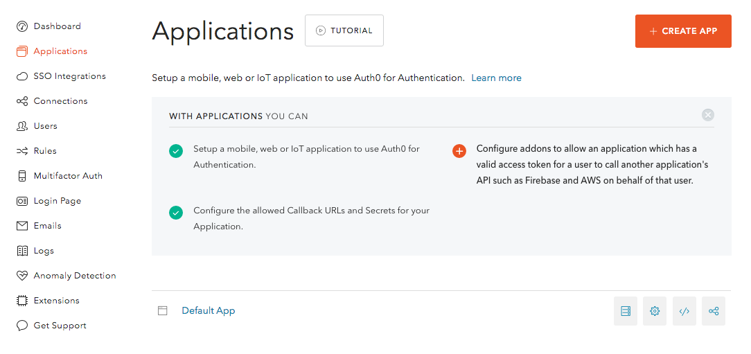 Creating Auth0 Applications