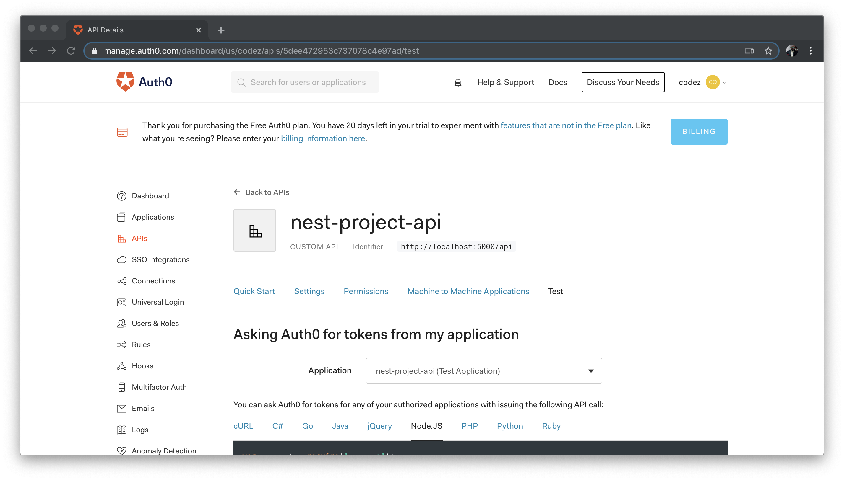 Nest API View on Auth0