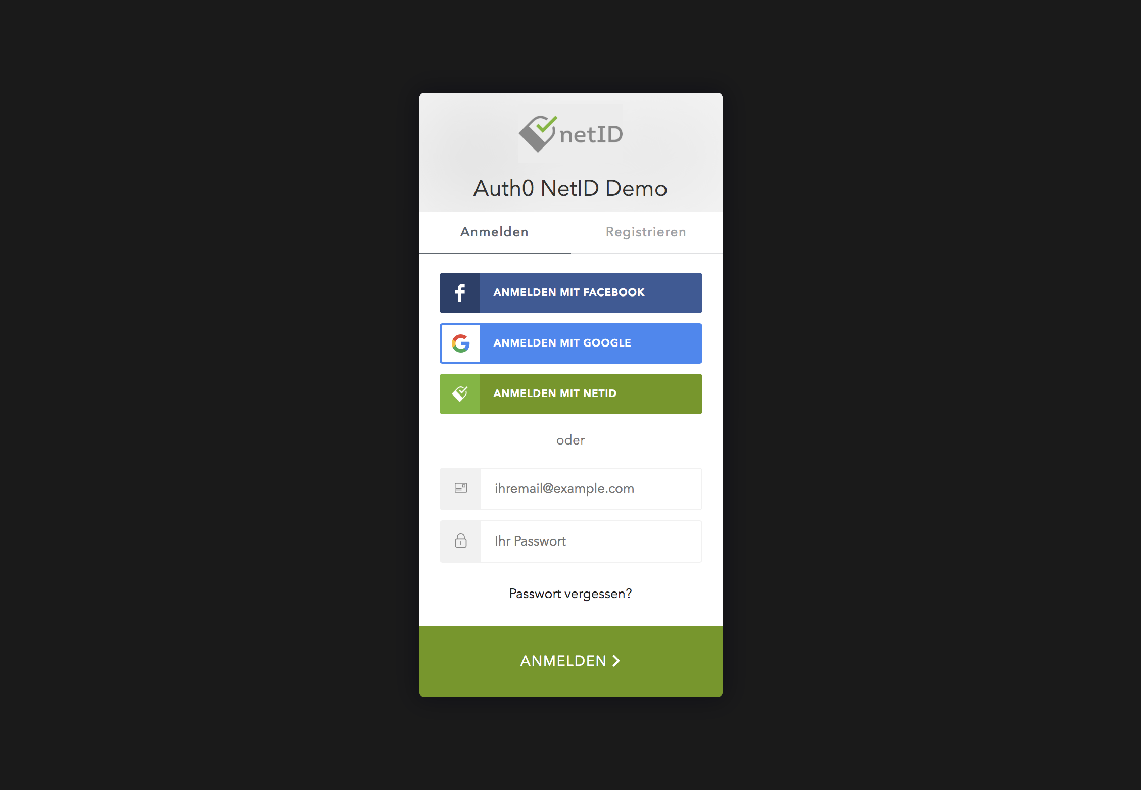 Auth0 login screen with netID as a custom social connection