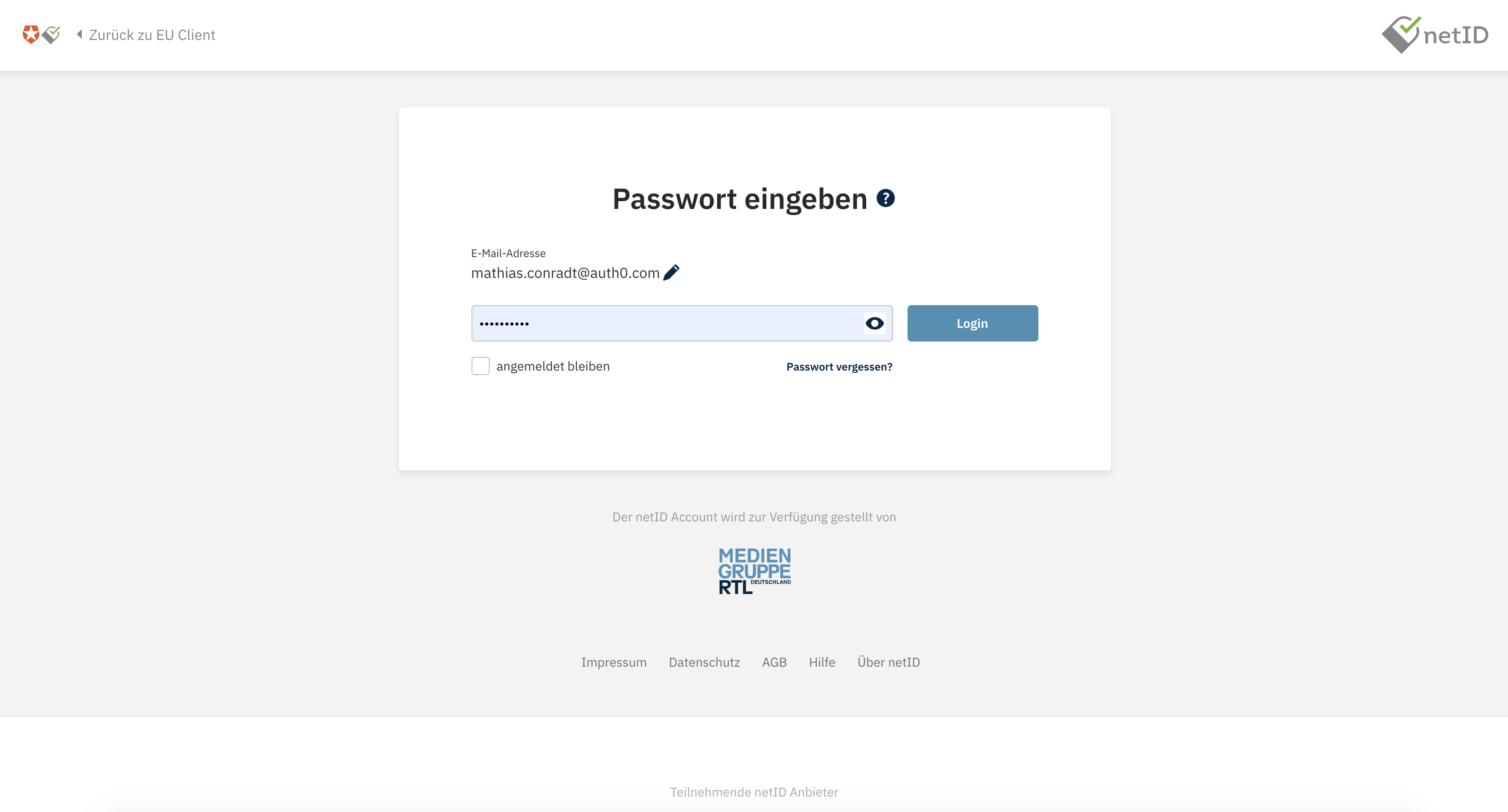 The netID password entry screen