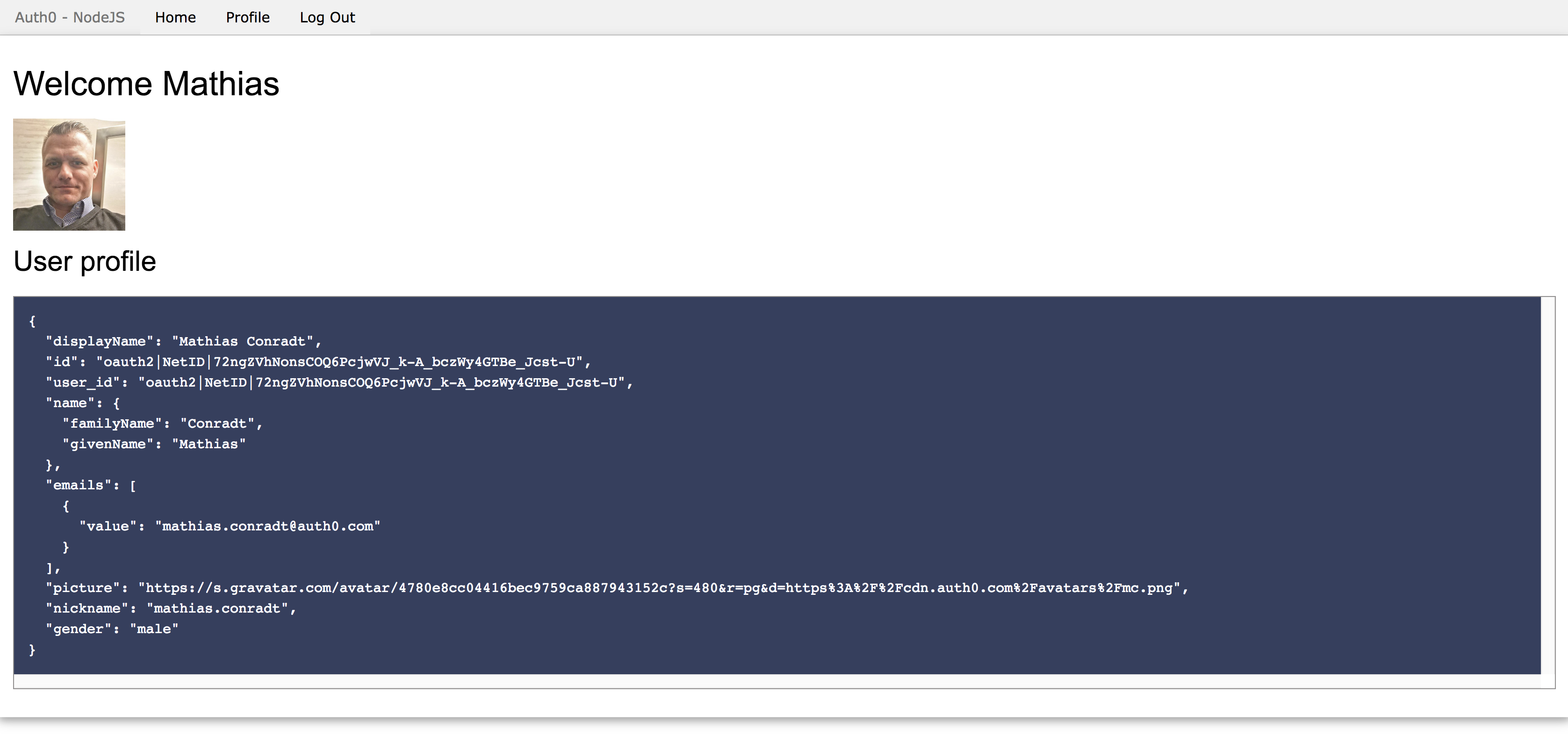 Logged into a demo app using netID