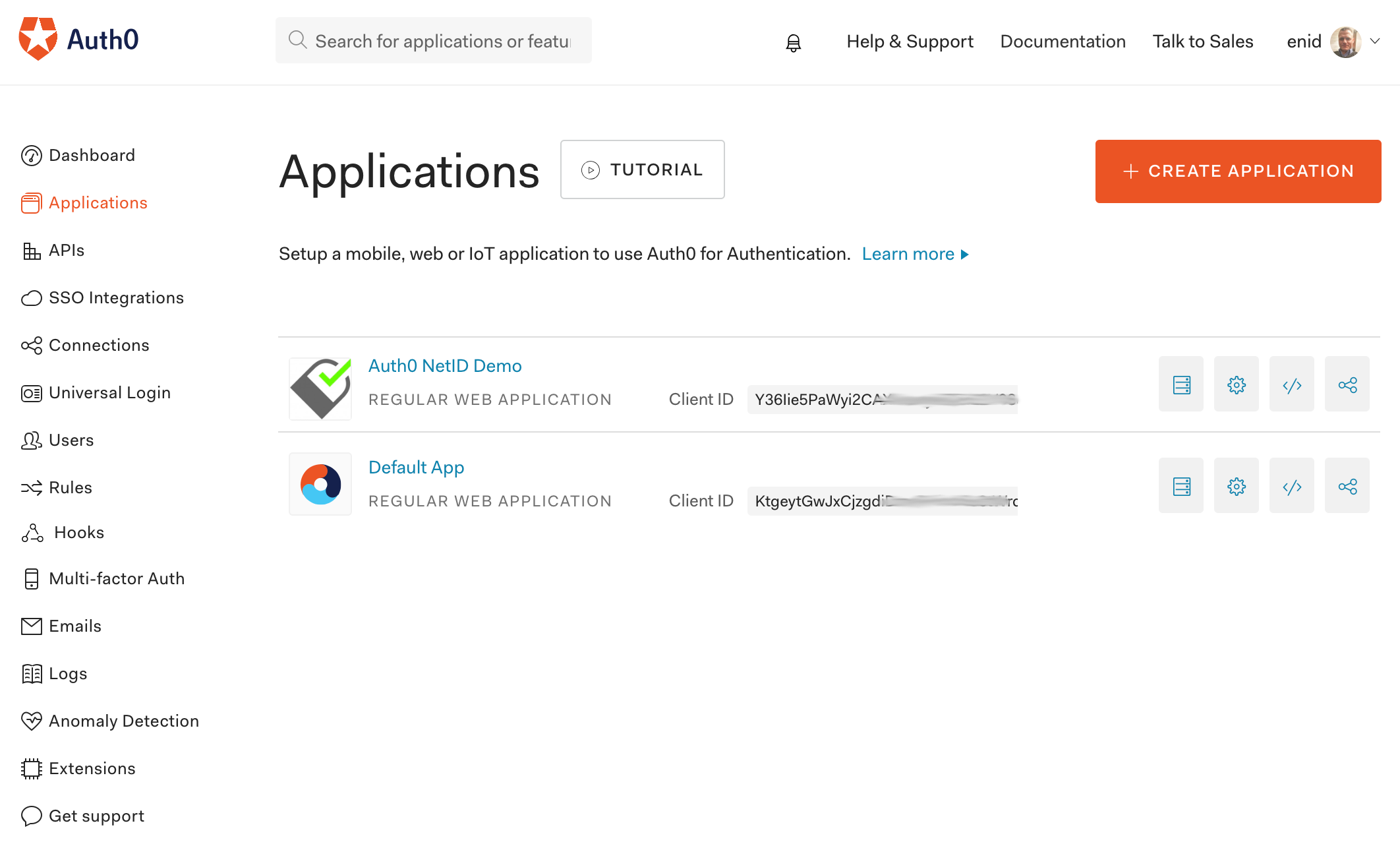 The Auth0 application registered in the dashboard