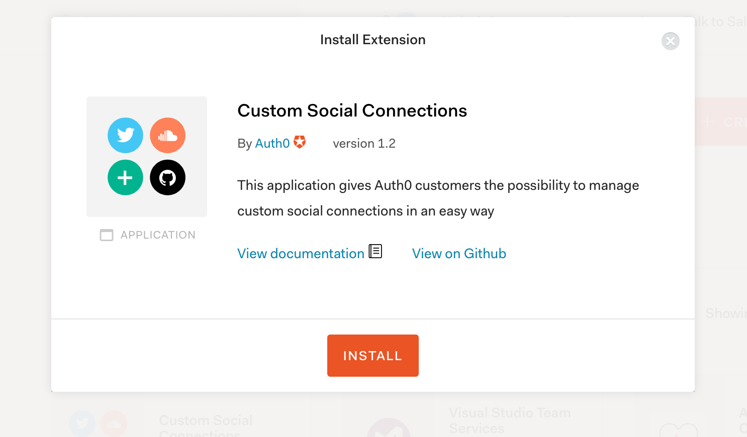 Installing a custom social connection