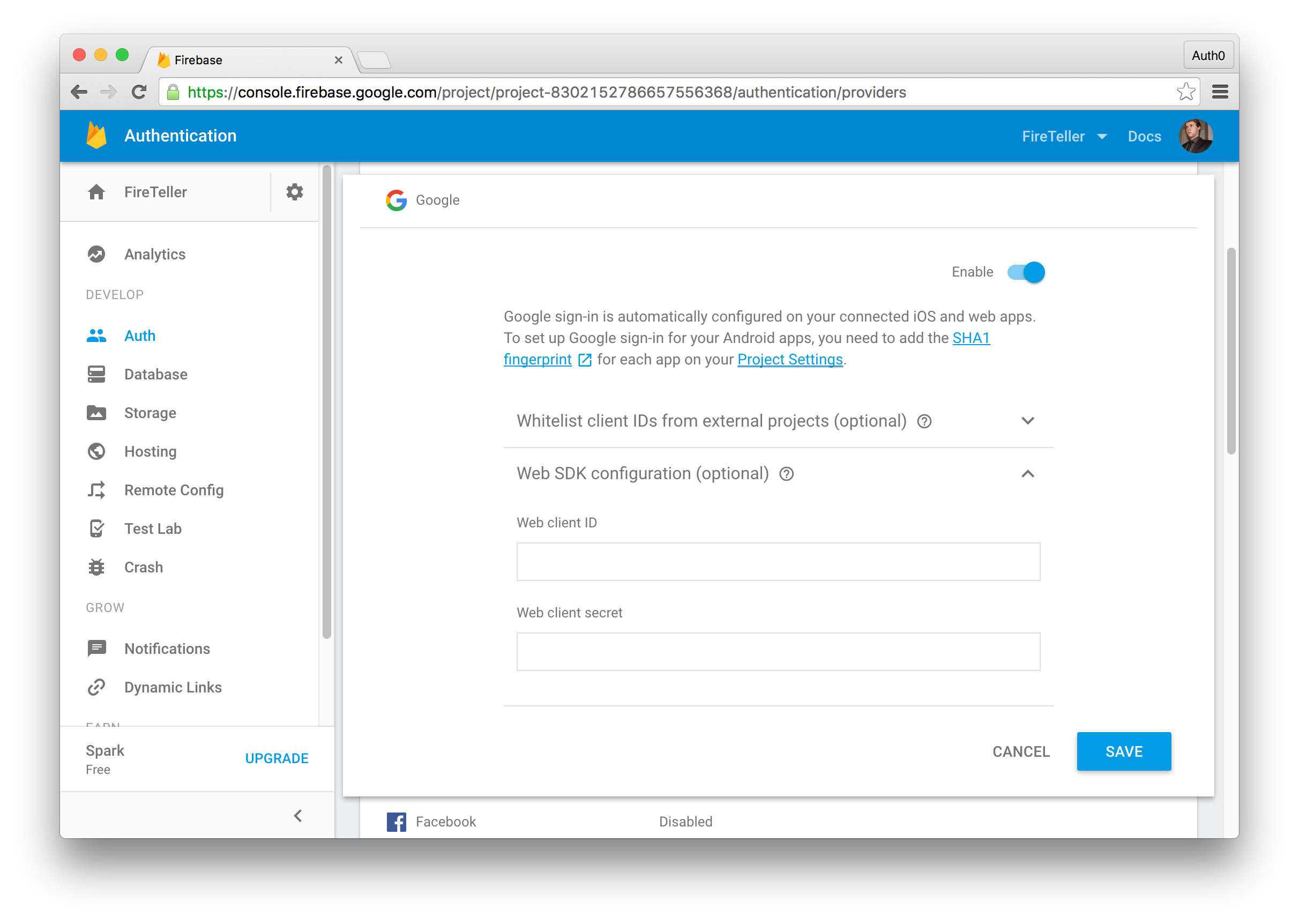 Enable Google Authentication with Firebase Authentication