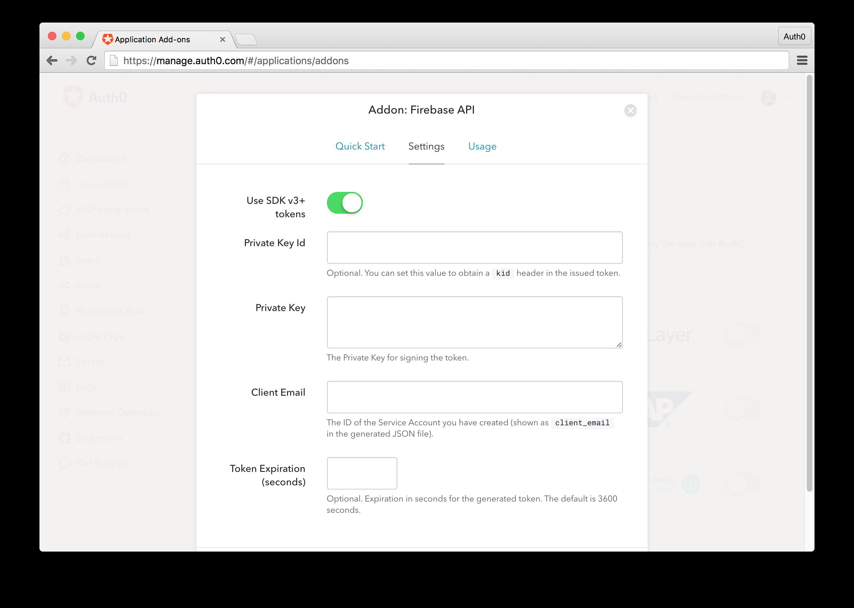 Firebase Addon Settings